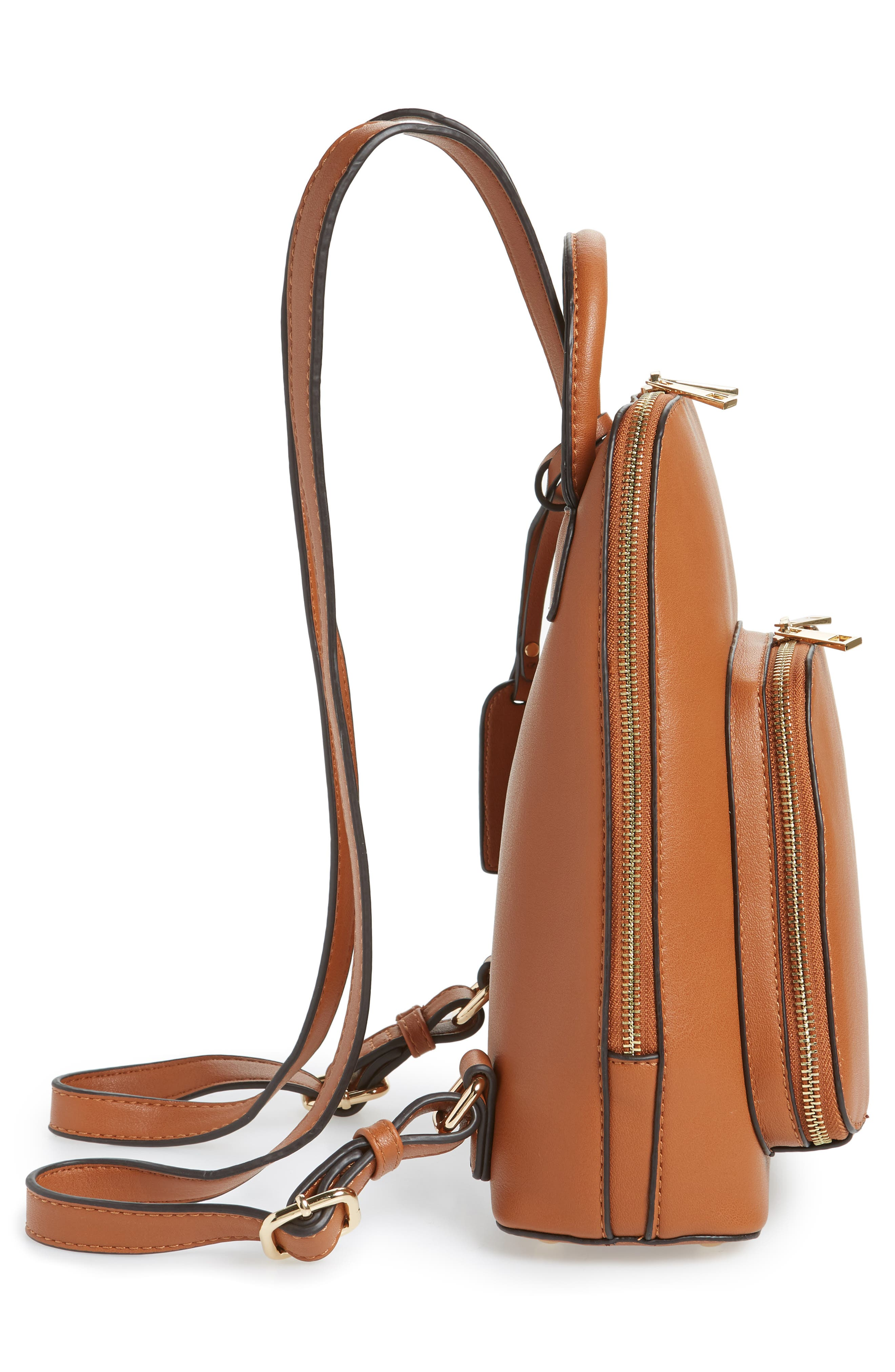 SOLE SOCIETY, Aushan Faux Leather Backpack, Alternate thumbnail 6, color, COGNAC
