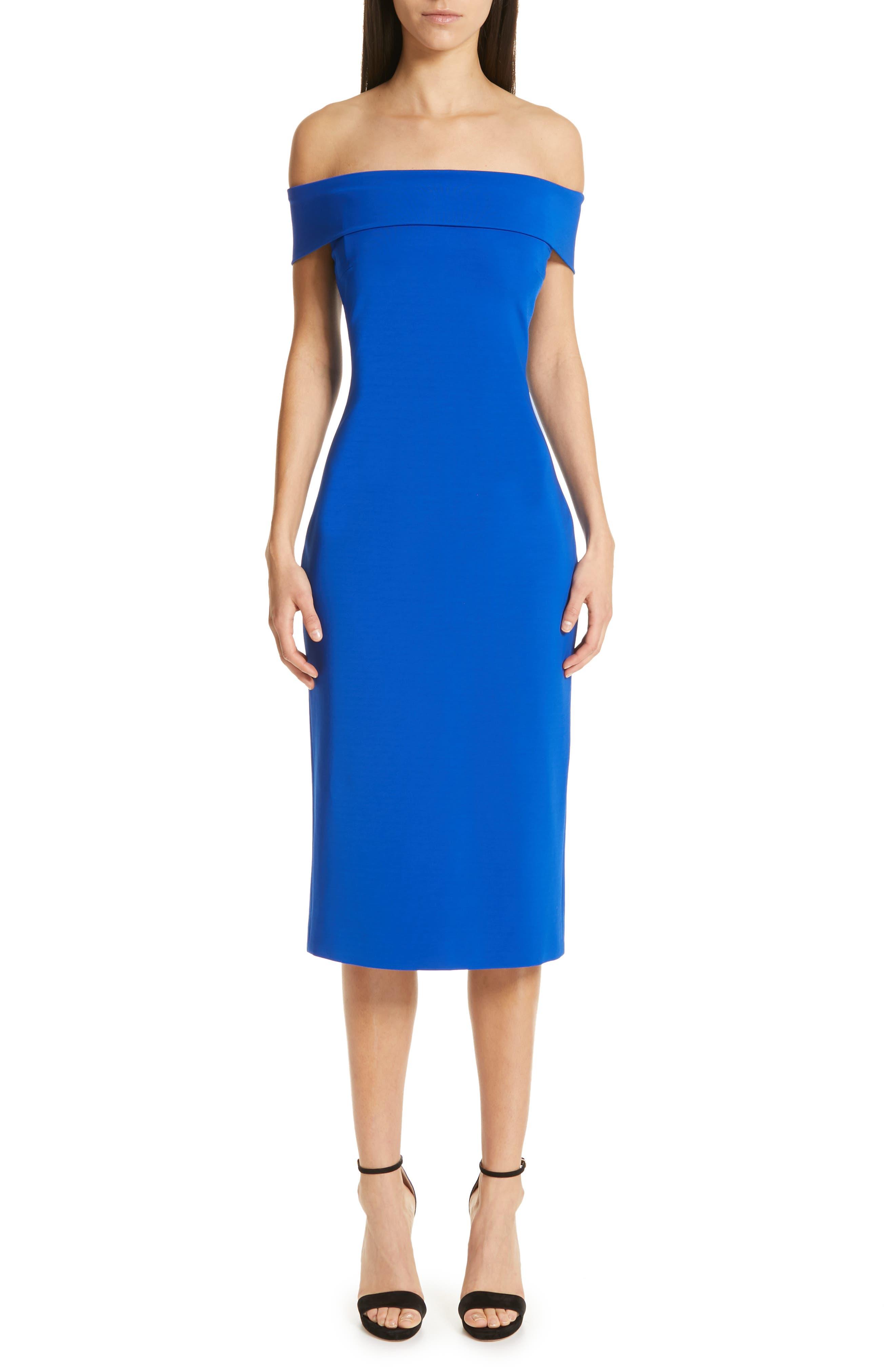 CUSHNIE Off the Shoulder Pencil Dress, Main, color, LAPIS