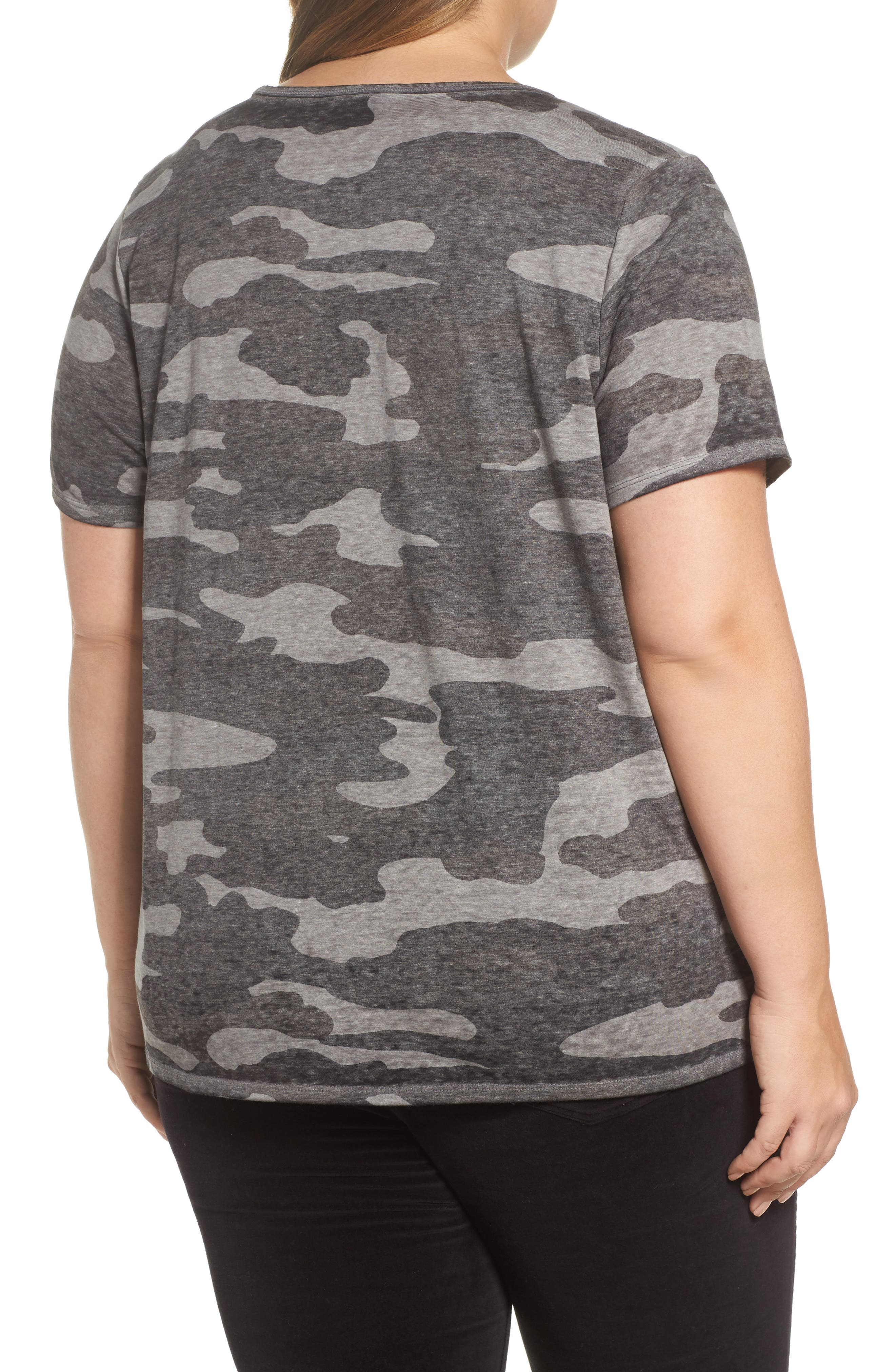 LUCKY BRAND, Lace-Up Camo Tee, Alternate thumbnail 2, color, GREY MULTI