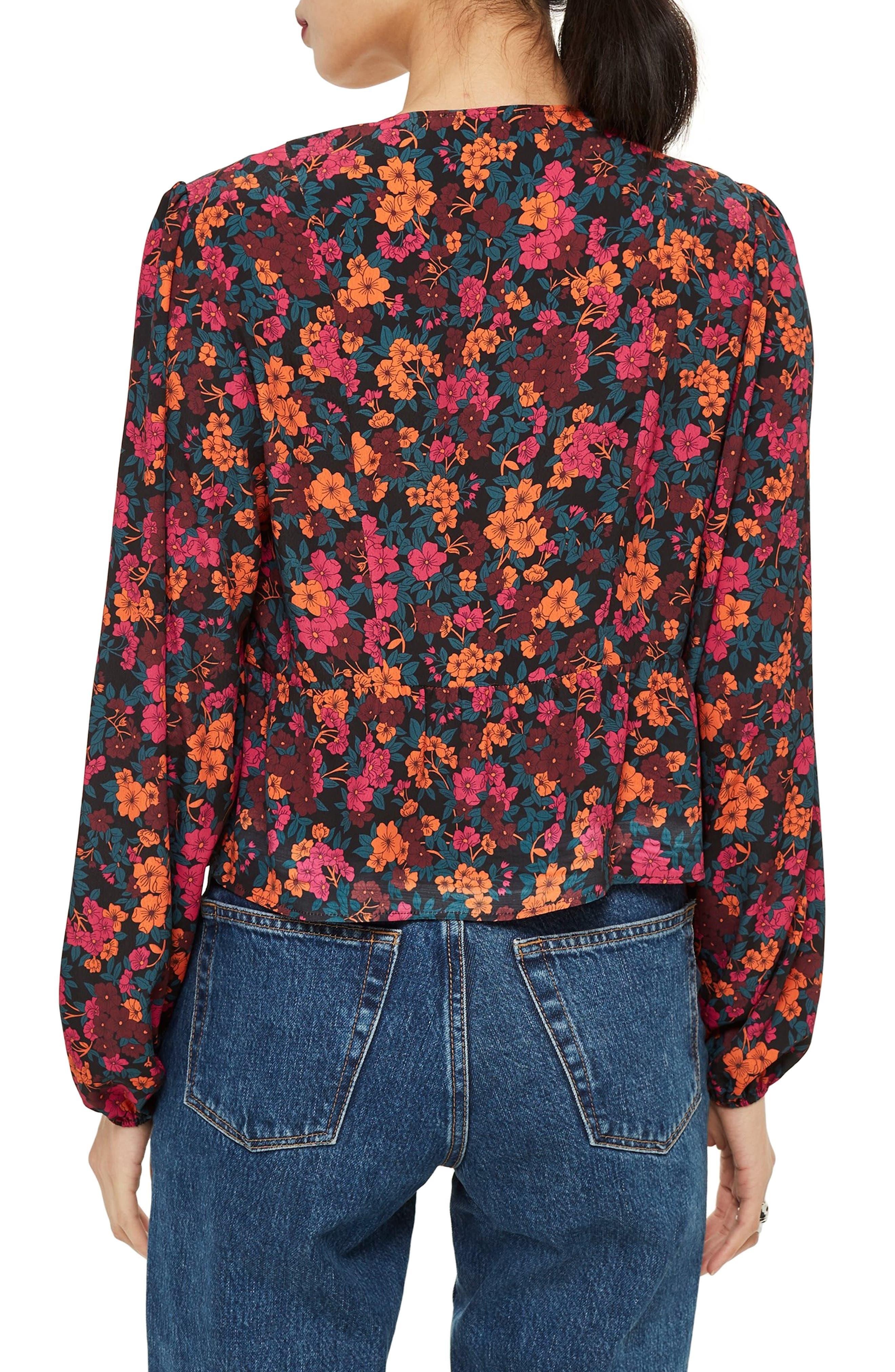 TOPSHOP, Grand Estate Floral Blouse, Alternate thumbnail 2, color, 600