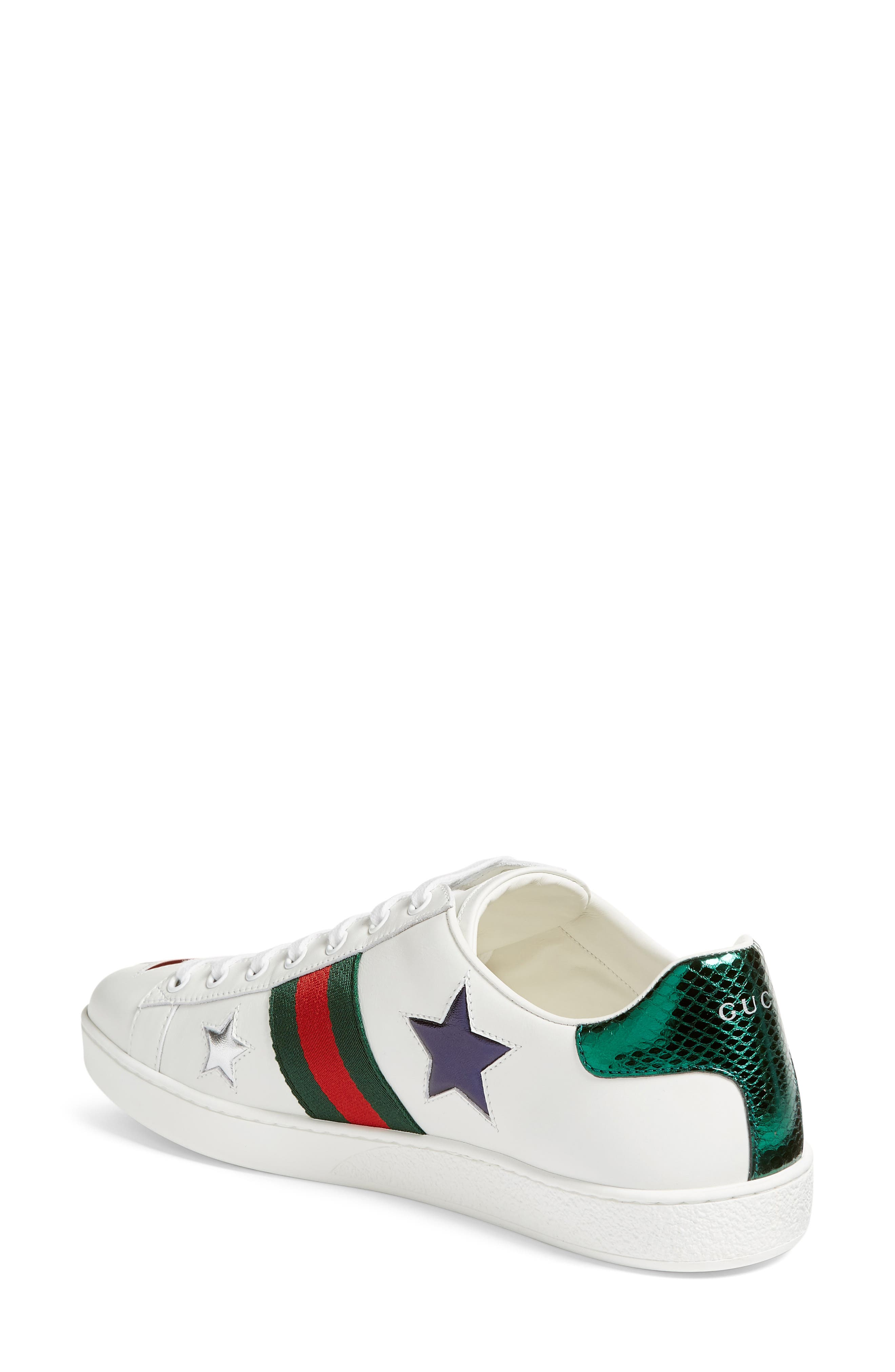 GUCCI, New Ace Star Sneaker, Alternate thumbnail 2, color, WHITE MULTI