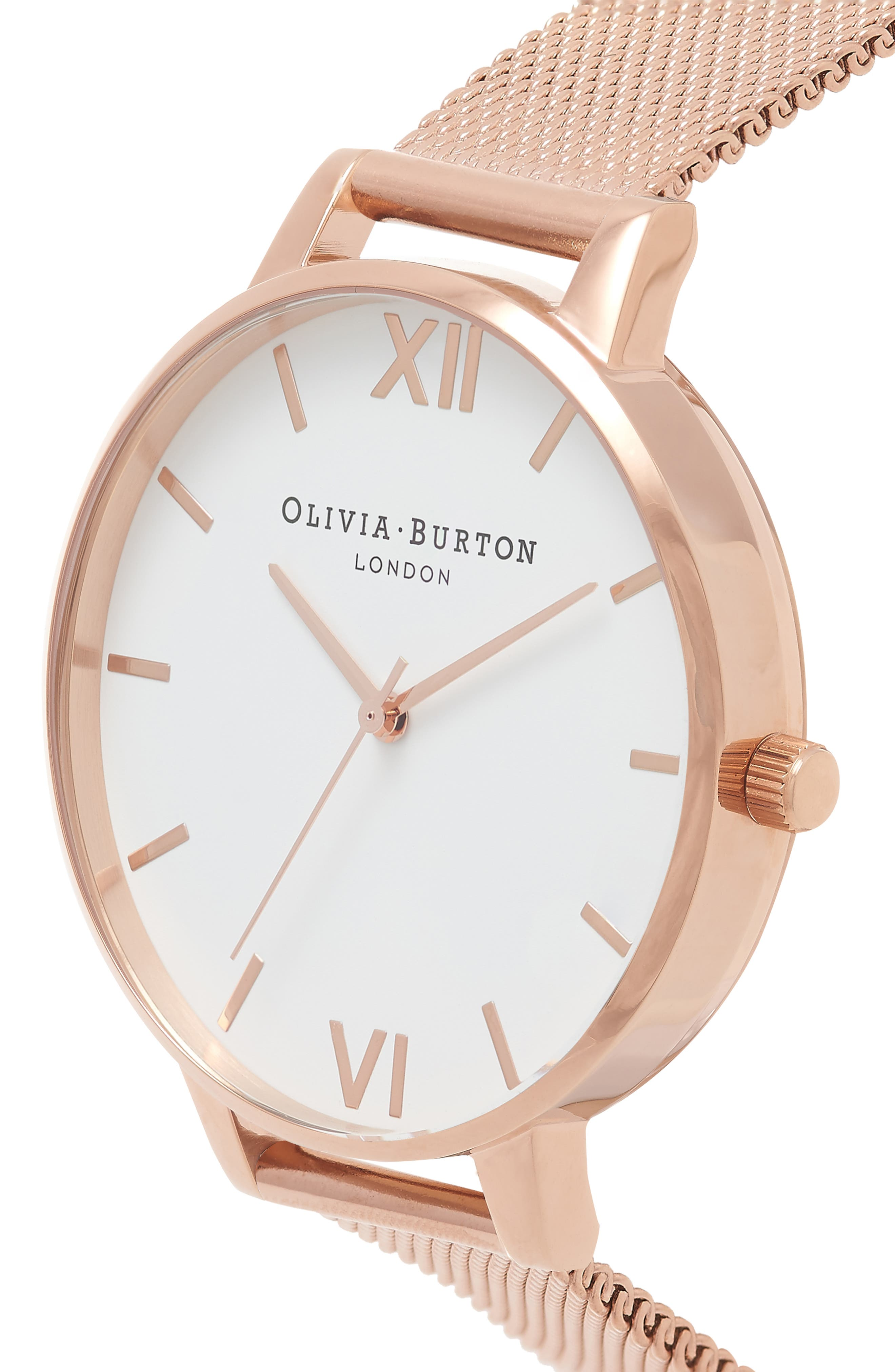 OLIVIA BURTON, 'Big Dial' Mesh Strap Watch, 38mm, Alternate thumbnail 3, color, ROSE GOLD/ WHITE