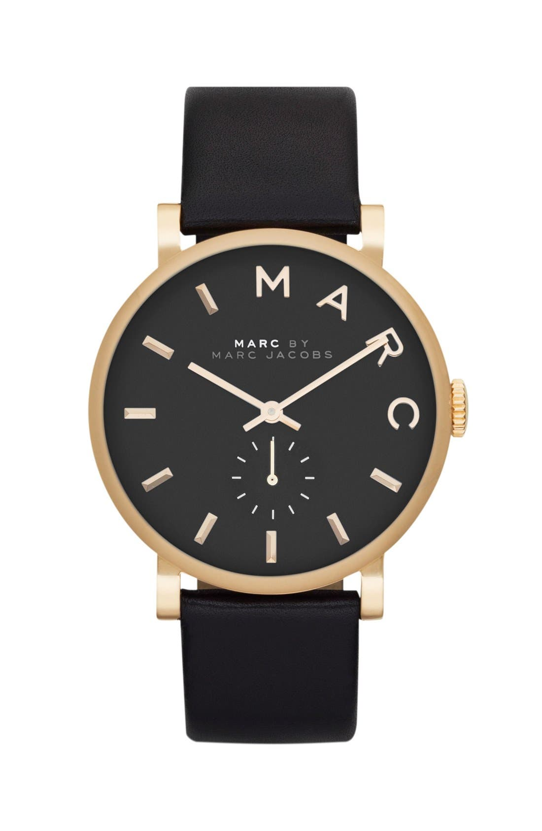 MARC JACOBS, 'Baker' Leather Strap Watch, 37mm, Main thumbnail 1, color, 001