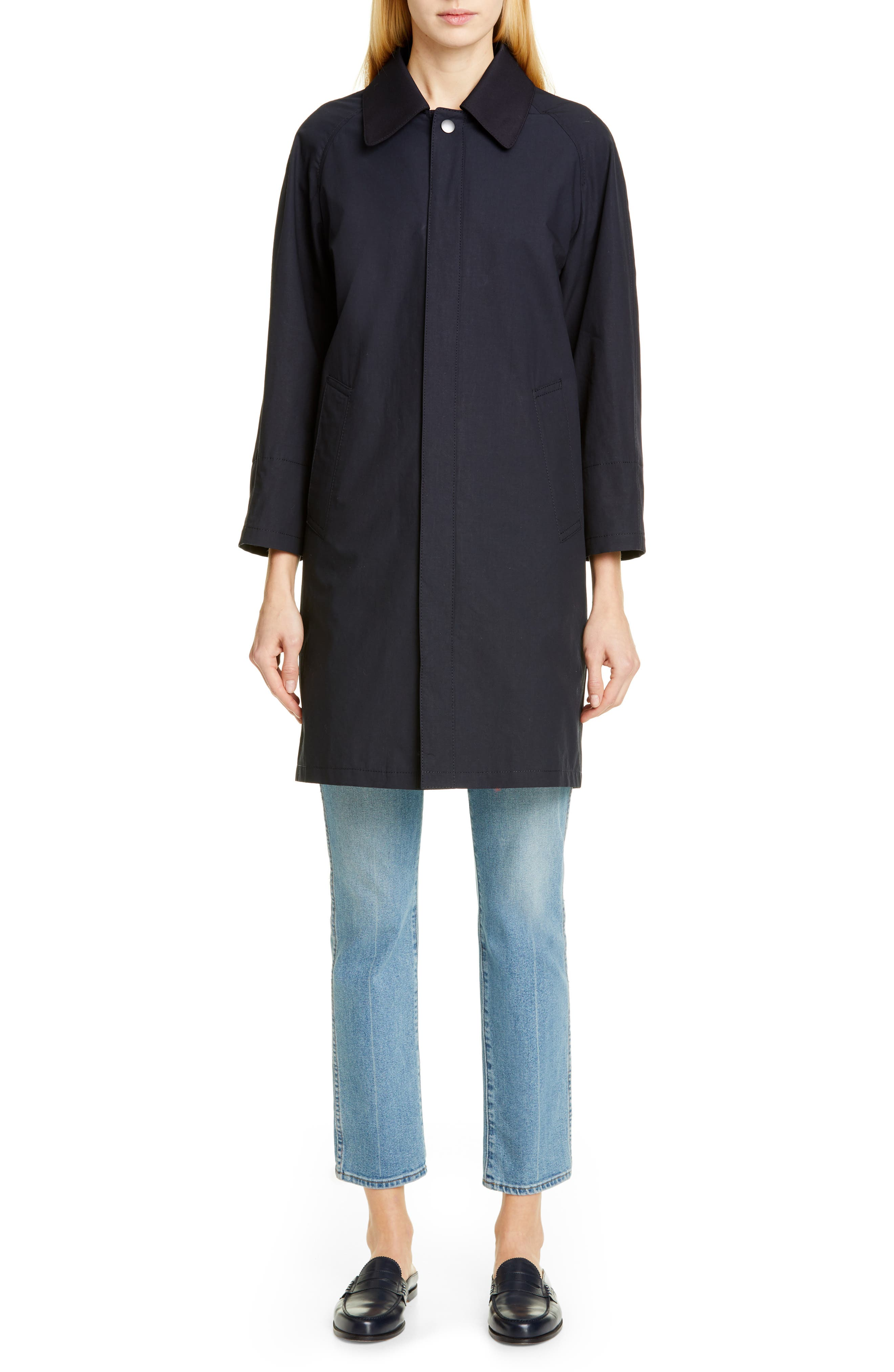 TRICOT COMME DES GARÇONS, Wool Cab Coat with Print Lining, Alternate thumbnail 7, color, NAVY