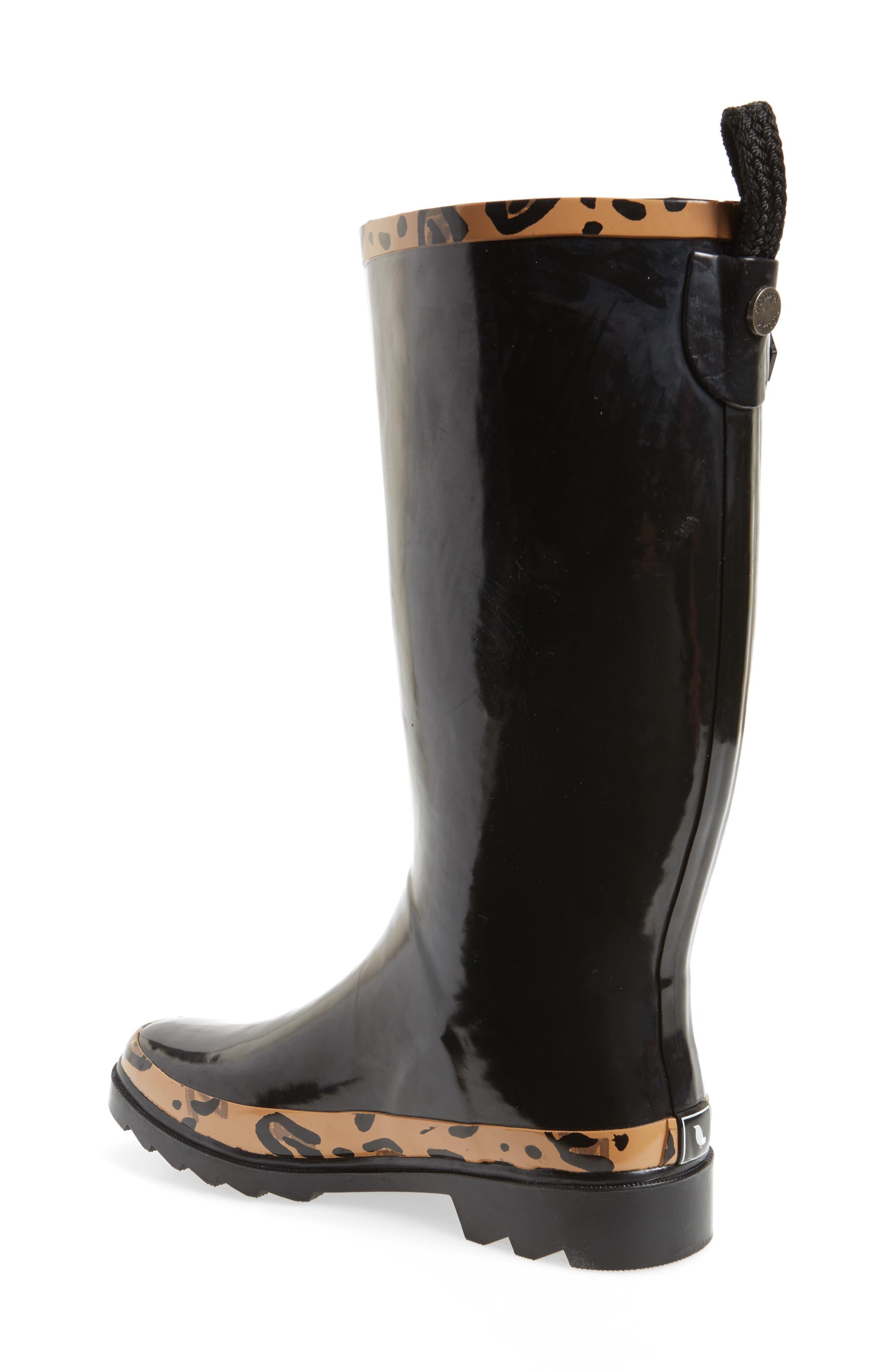 SAKROOTS, Rhythm Waterproof Rain Boot, Alternate thumbnail 2, color, BLACK LEOPARD PRINT