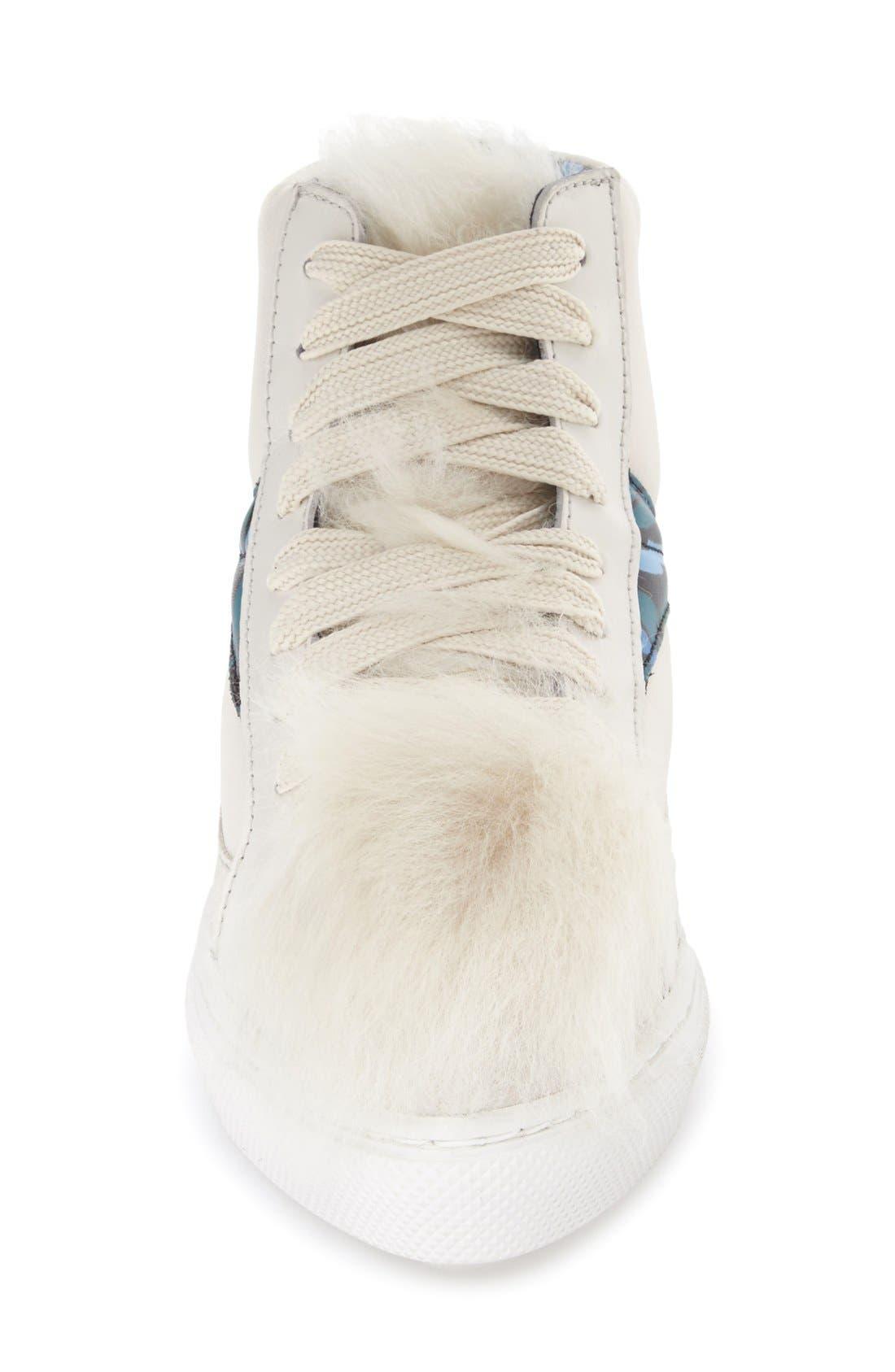 COACH, Genuine Shearling High Top Sneaker, Alternate thumbnail 4, color, 188