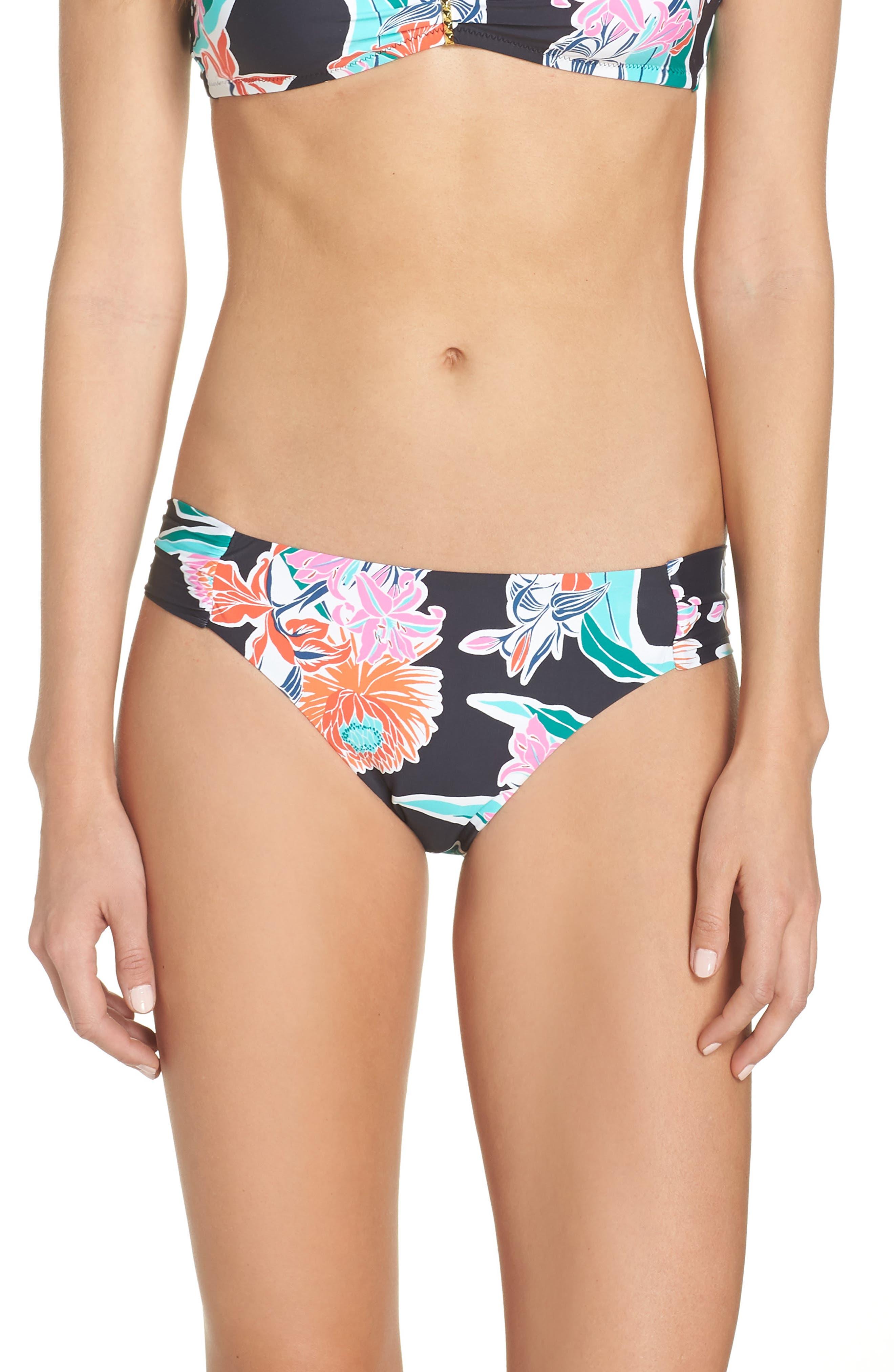 TRINA TURK, Shirred Floral Bikini Bottoms, Main thumbnail 1, color, BLACK MULTI