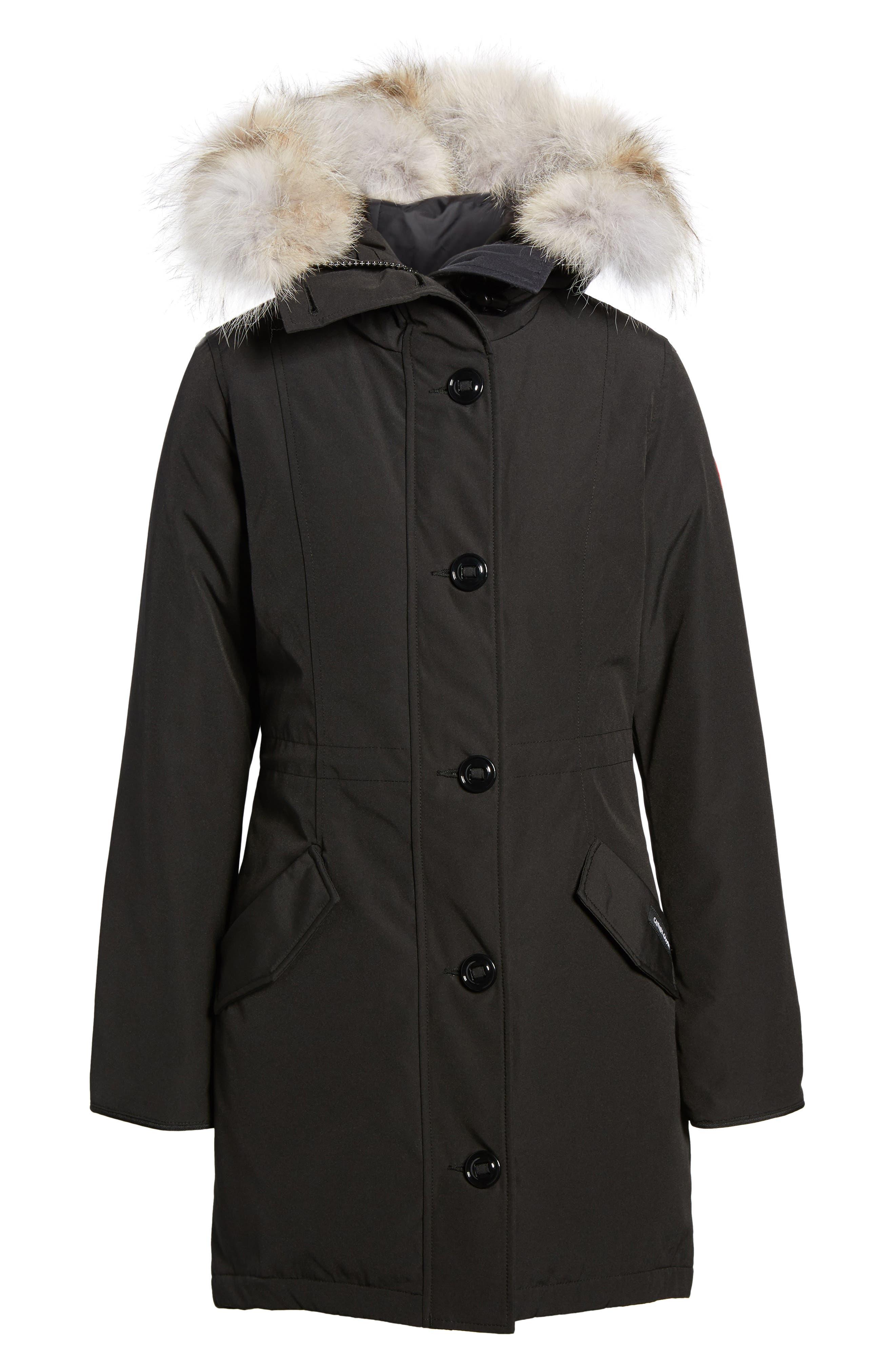 CANADA GOOSE, Rossclair Genuine Coyote Fur Trim Down Parka, Alternate thumbnail 2, color, BLACK