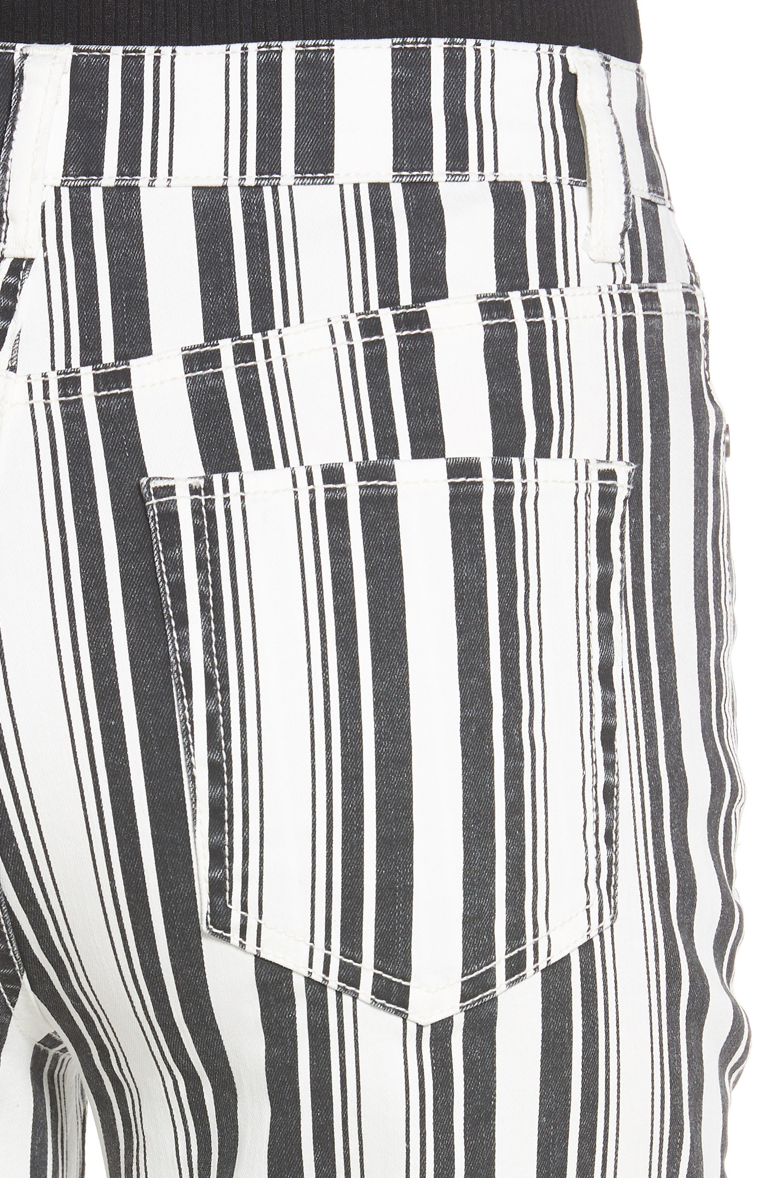 TINSEL, Stripe Crop Flare Jeans, Alternate thumbnail 5, color, WHITE BLACK