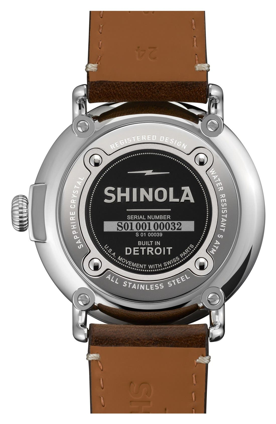 SHINOLA, 'The Runwell' Leather Strap Watch, 47mm, Alternate thumbnail 4, color, DARK COFFEE/ CREAM