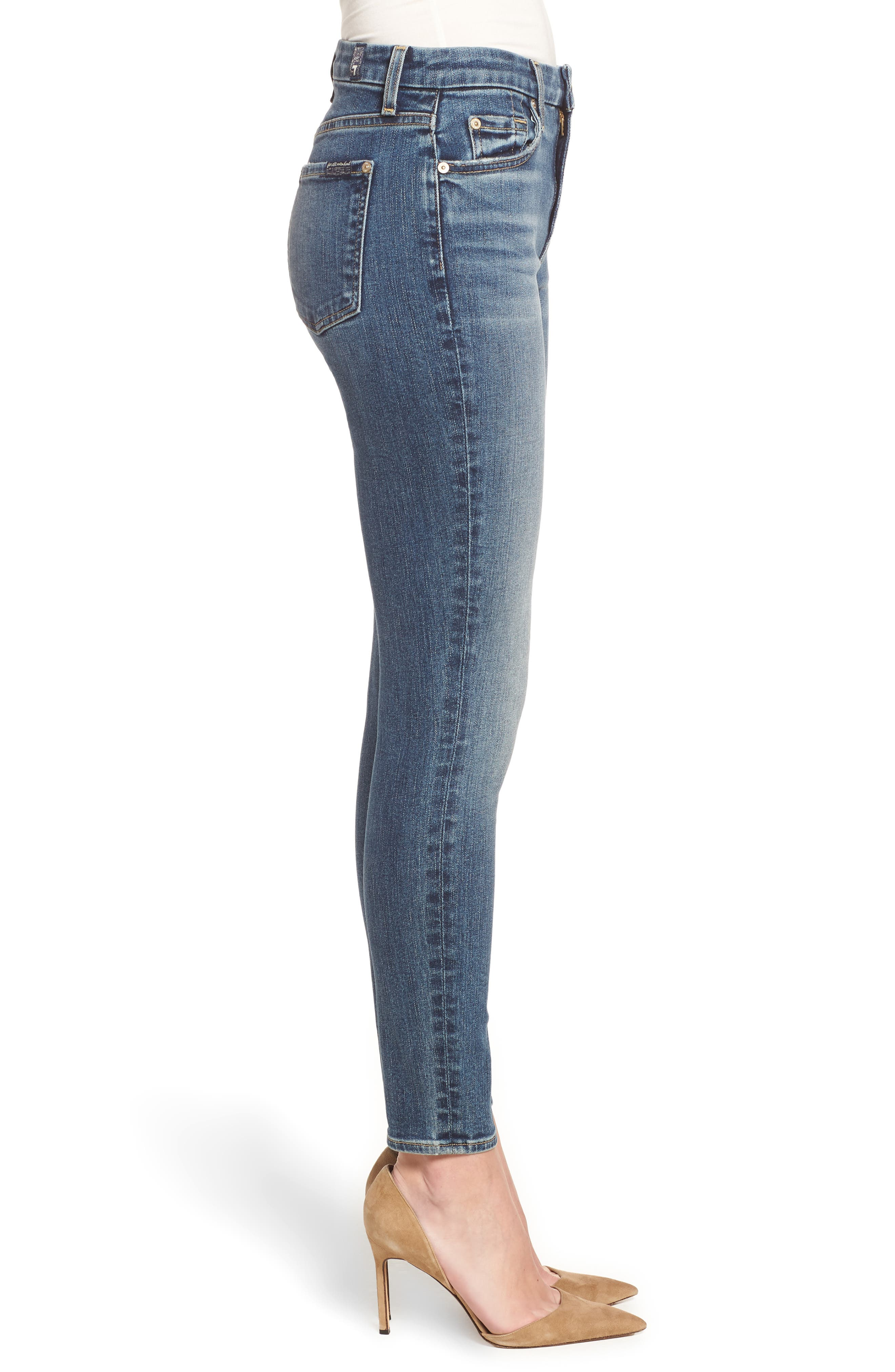 7 FOR ALL MANKIND<SUP>®</SUP>, The High Waist Ankle Skinny Jeans, Alternate thumbnail 4, color, 400