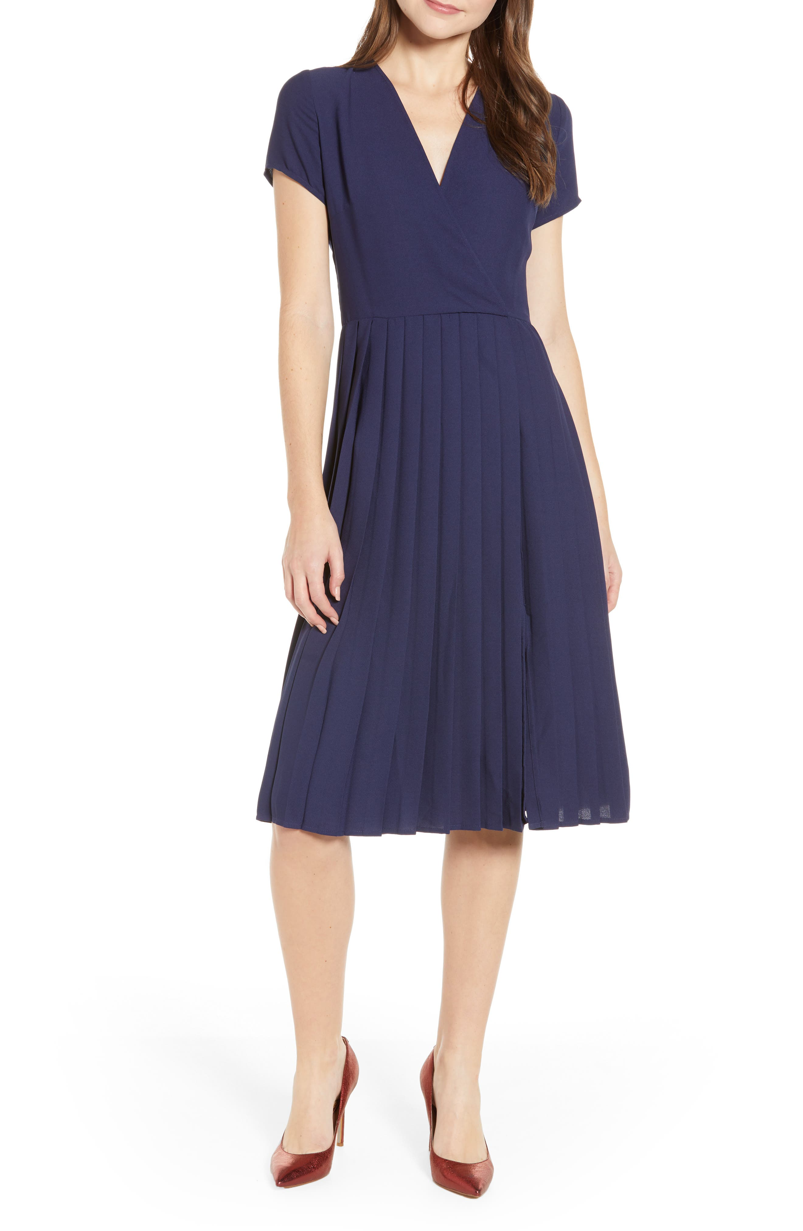 LEITH Pleated Surplice Dress, Main, color, NAVY PEACOAT