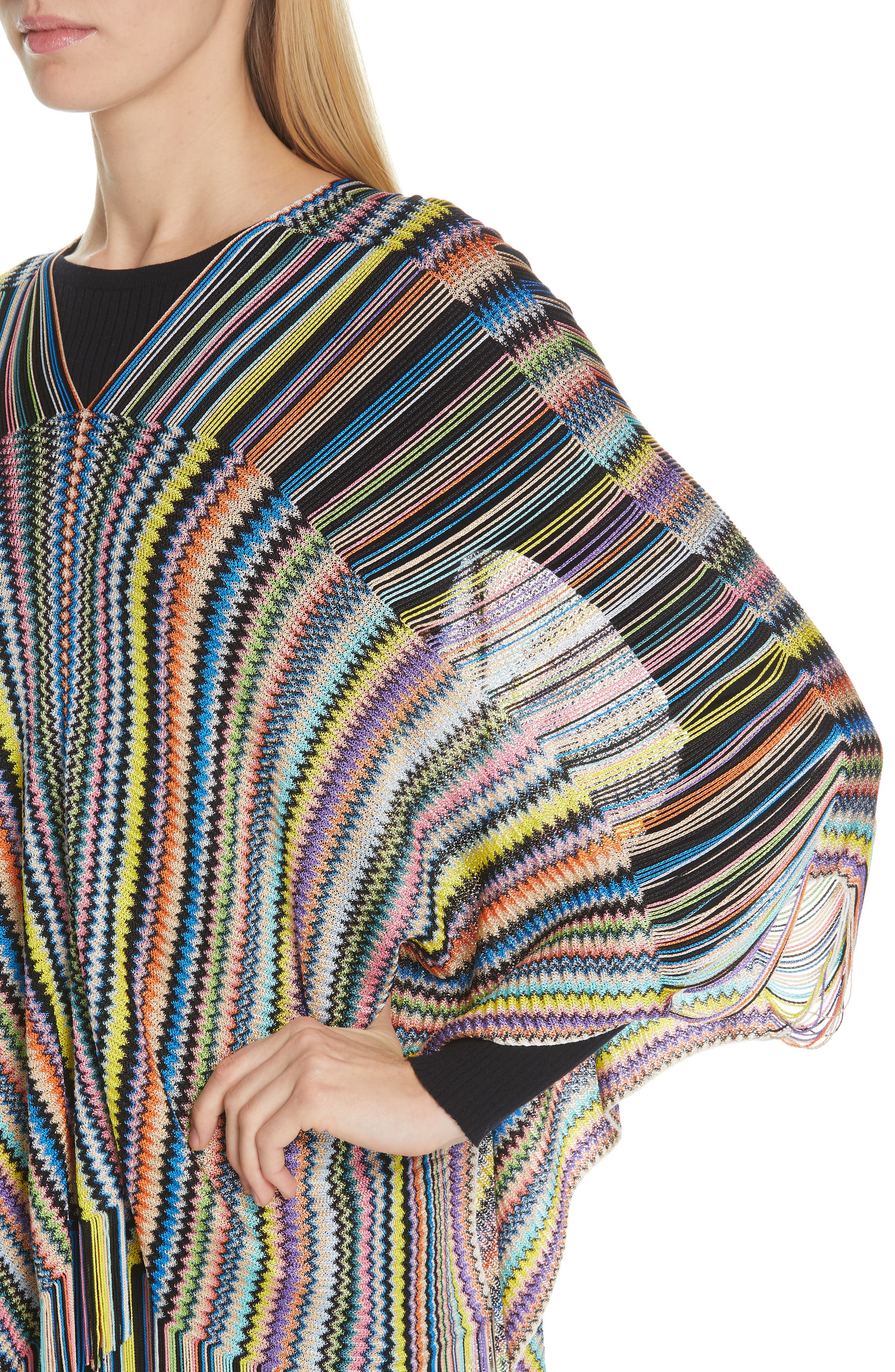 MISSONI, Open Weave Shoulder Poncho, Alternate thumbnail 4, color, DANDELION