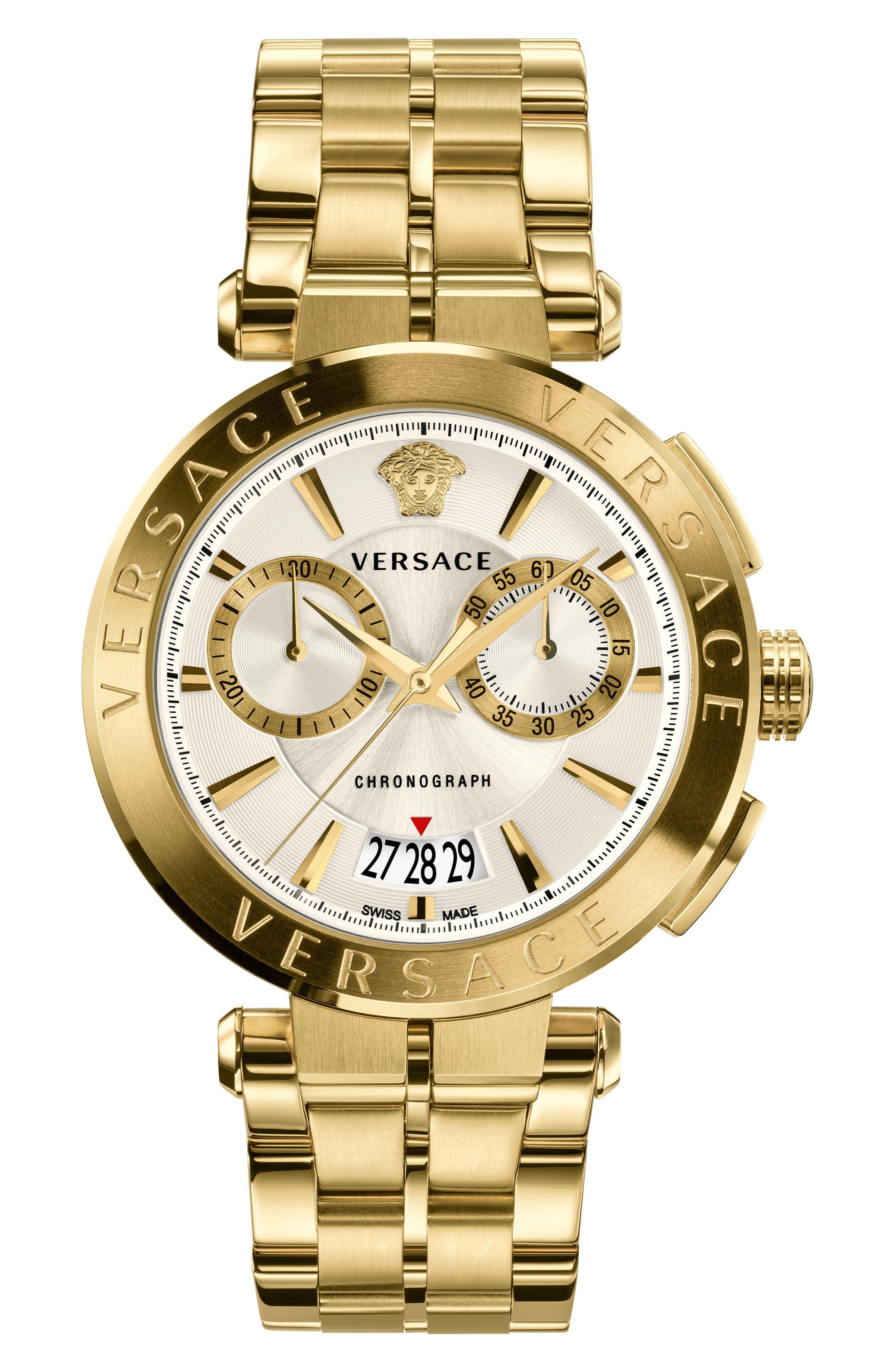 VERSACE Aion Chronograph Bracelet Watch, 45mm, Main, color, GOLD/ SILVER