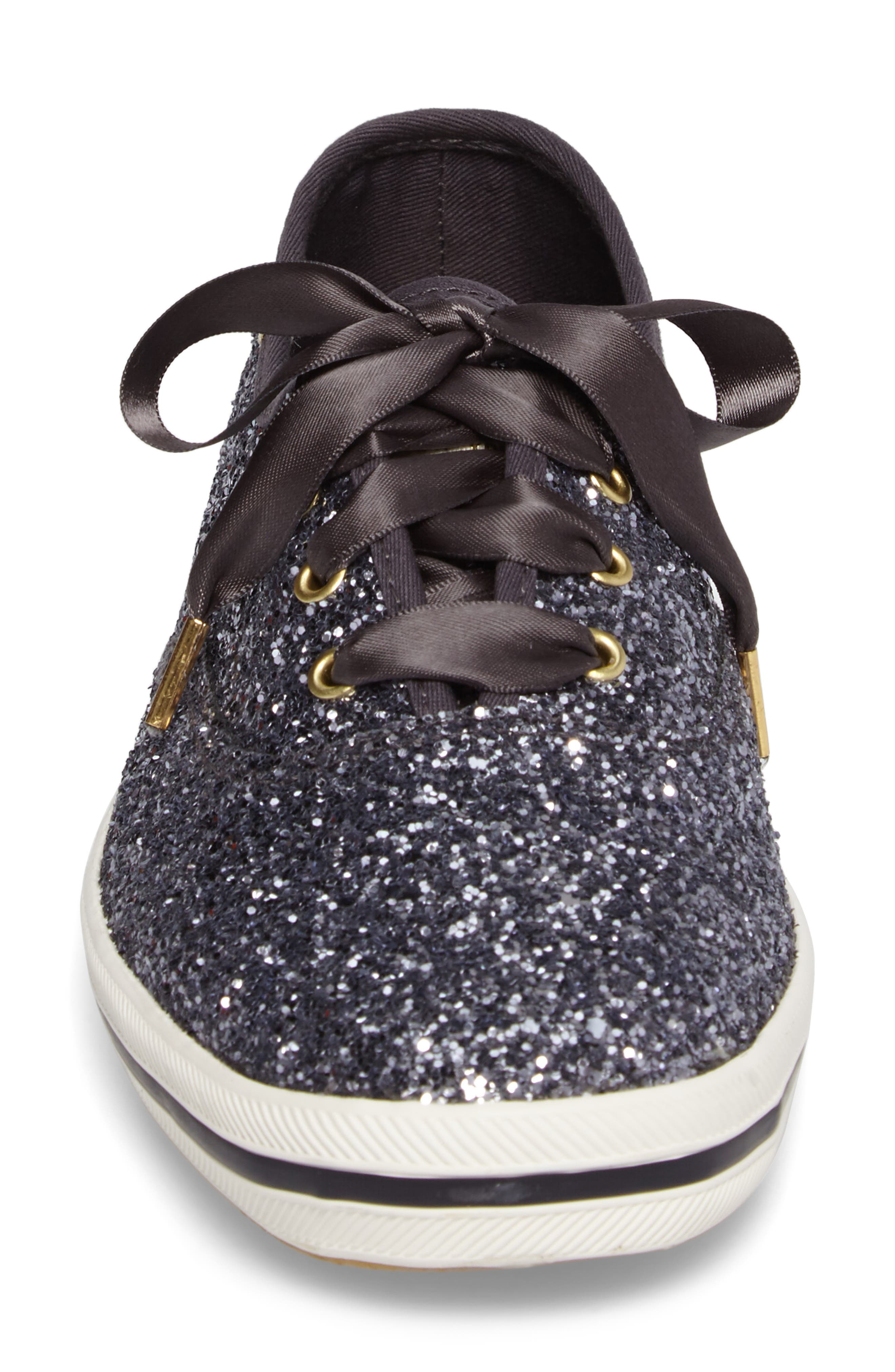 KEDS<SUP>®</SUP> FOR KATE SPADE NEW YORK, glitter sneaker, Alternate thumbnail 4, color, PEWTER