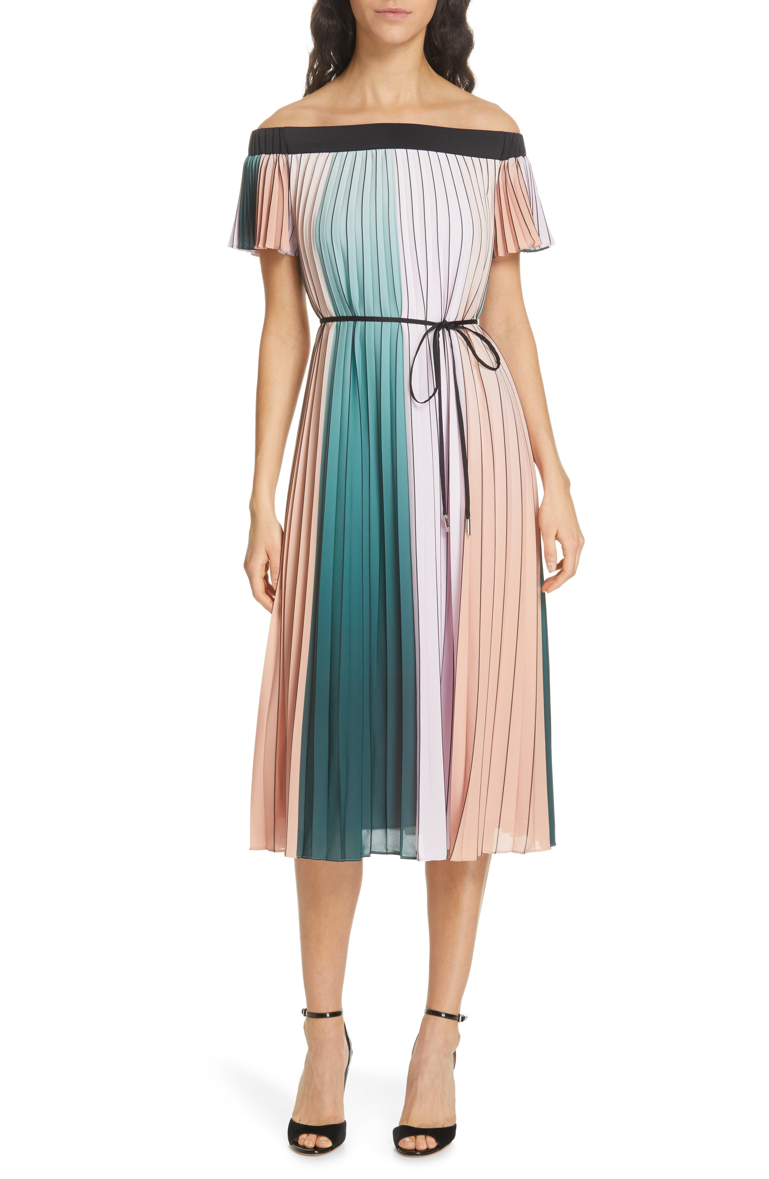 TED BAKER LONDON, Fernee Colorblock Pleated Dress, Main thumbnail 1, color, LILAC