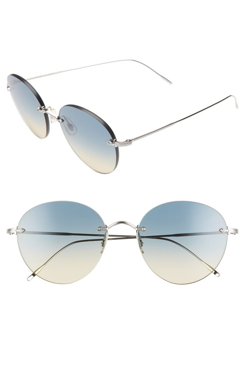 Oliver Peoples Sunglasses COLIENA 57MM ROUND SUNGLASSES - SILVER/ YELLOW/ GRADIENT BLUE