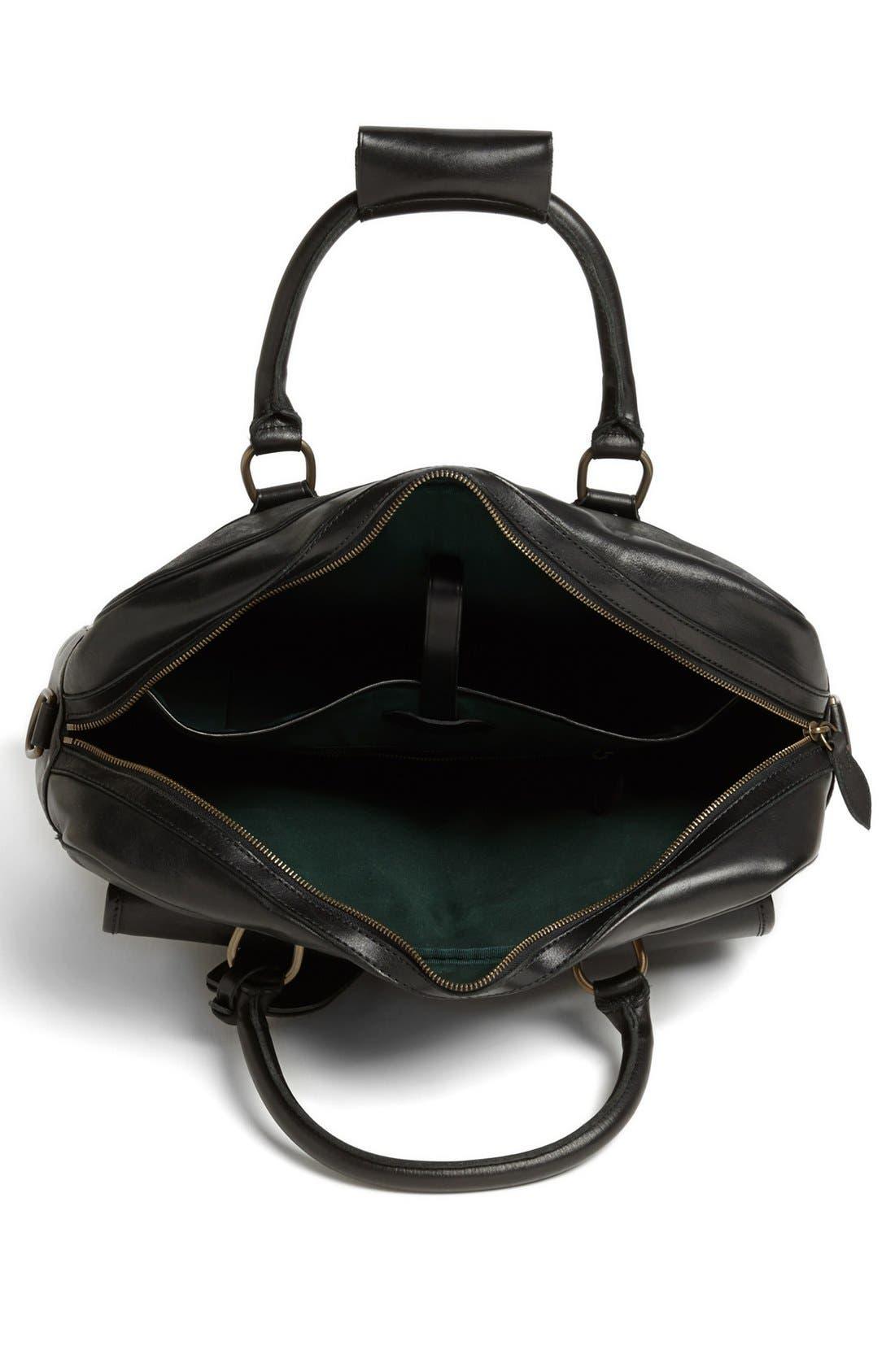 POLO RALPH LAUREN, Leather Commuter Bag, Alternate thumbnail 5, color, 001