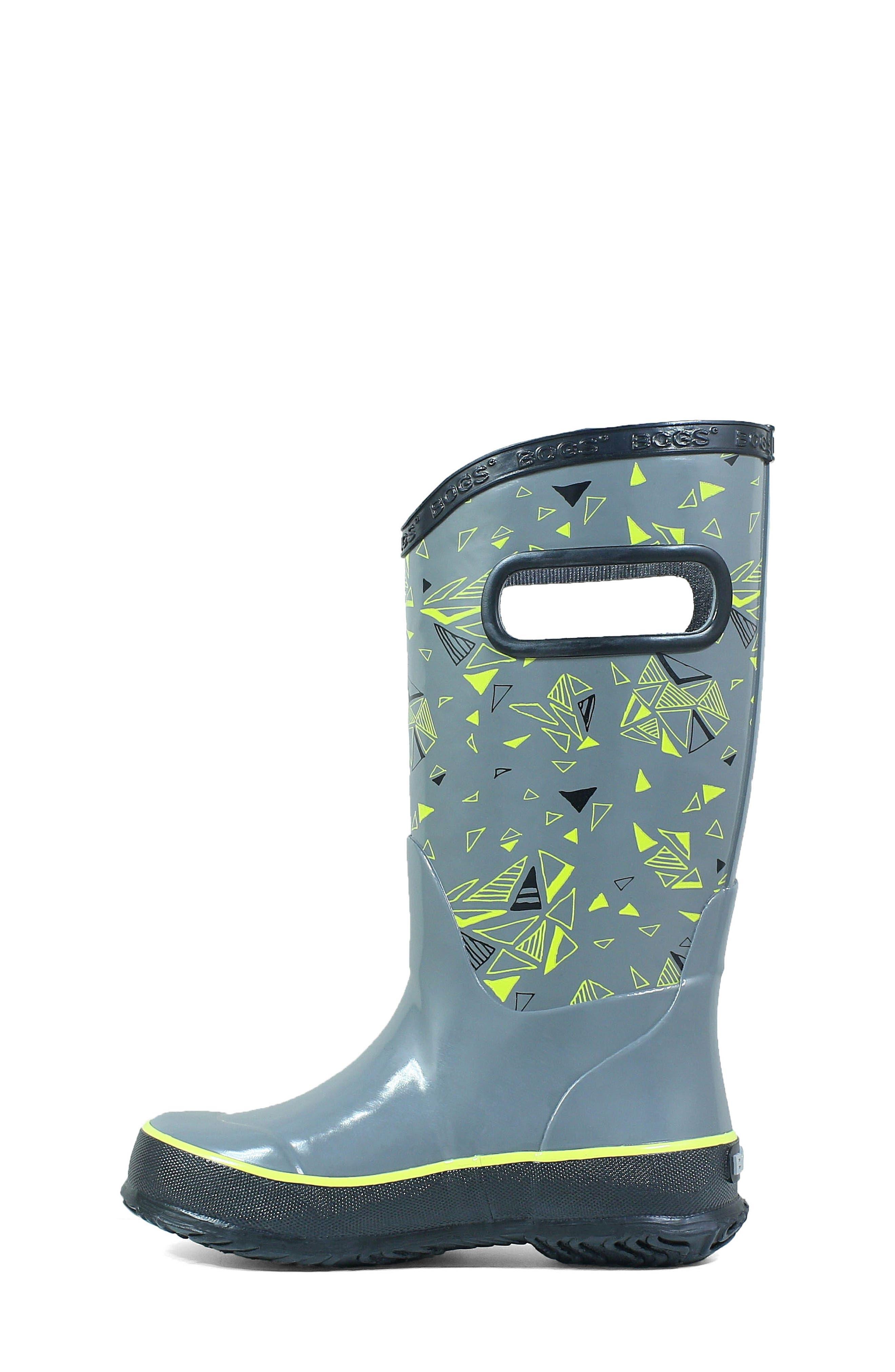 BOGS, Triego Waterproof Rain Boot, Alternate thumbnail 8, color, GRAY MULTI
