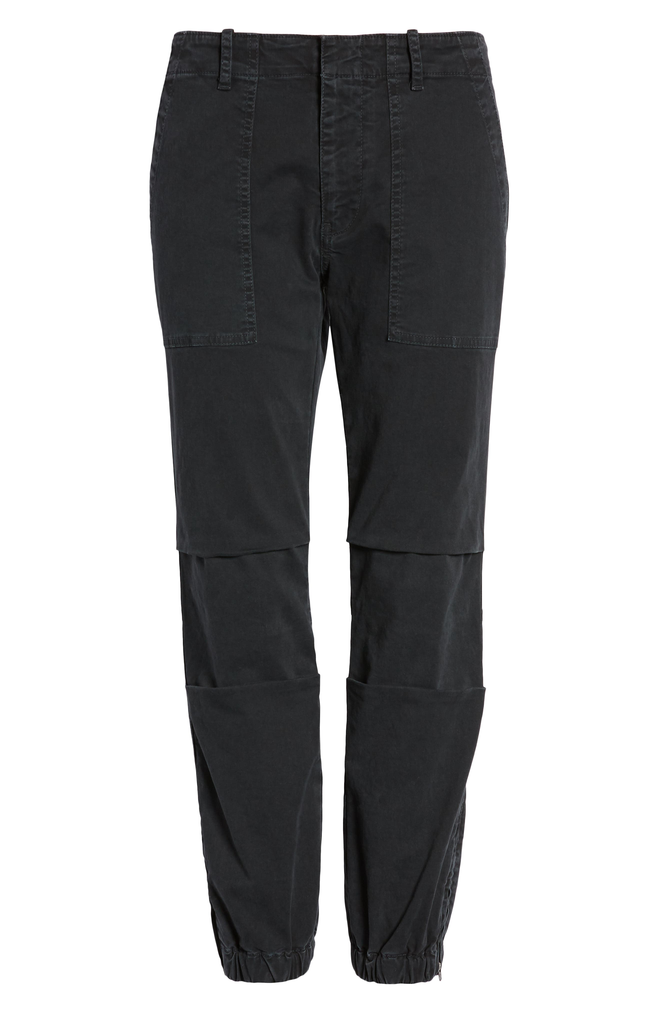 NILI LOTAN, Stretch Cotton Twill Crop Military Pants, Alternate thumbnail 7, color, CARBON
