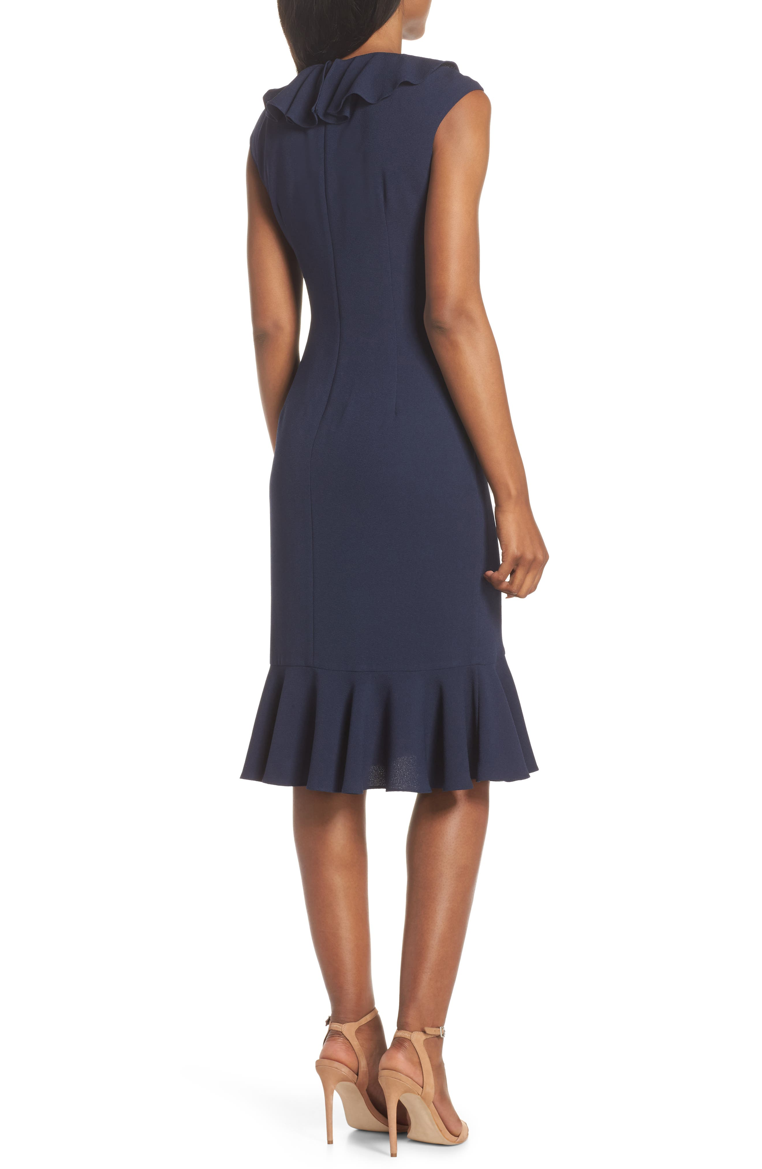 MAGGY LONDON, Crepe Ruffle Front Sheath Dress, Alternate thumbnail 2, color, NAVY