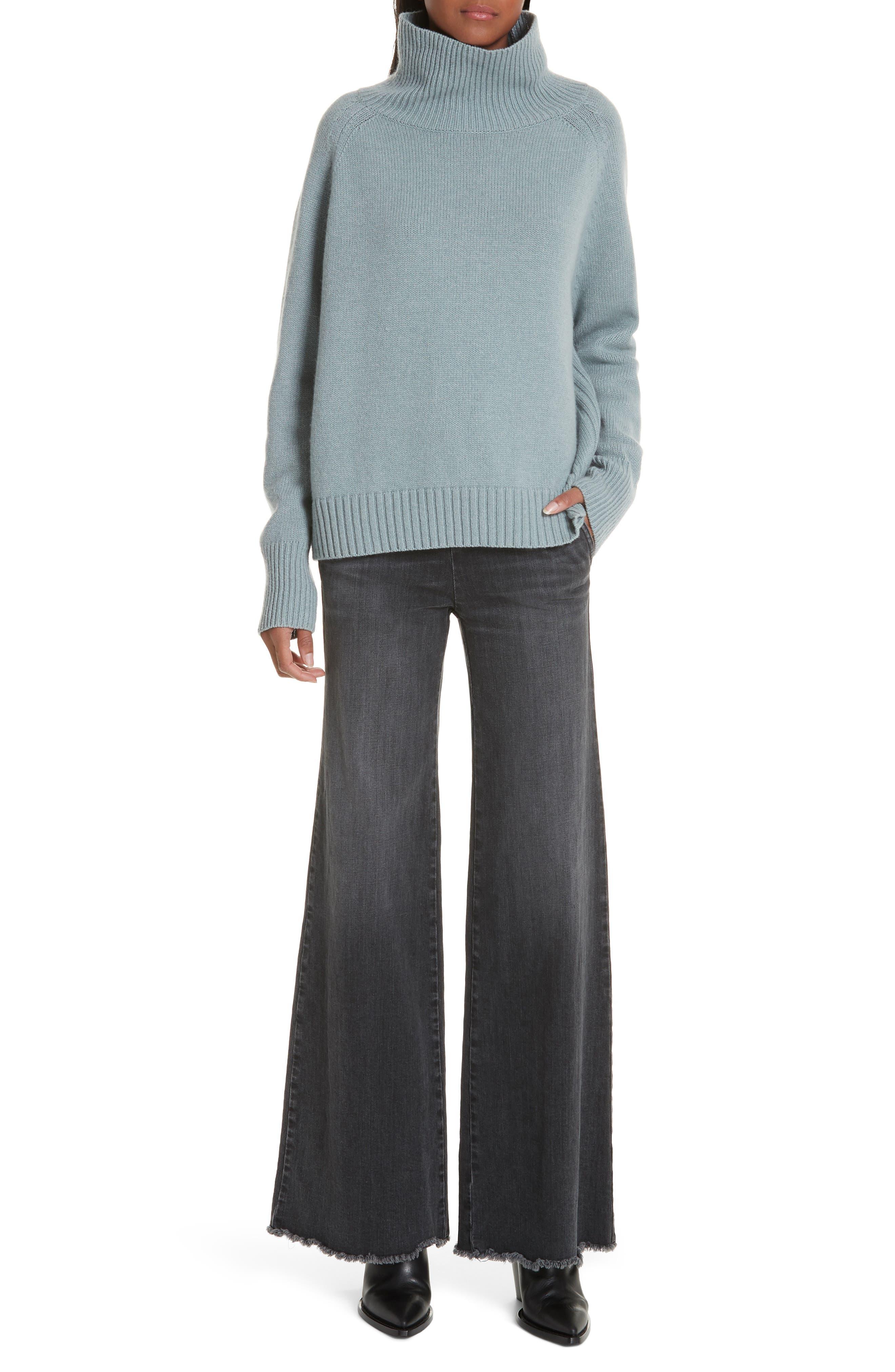 NILI LOTAN, Mariah Funnel Neck Cashmere Sweater, Alternate thumbnail 7, color, SKY BLUE