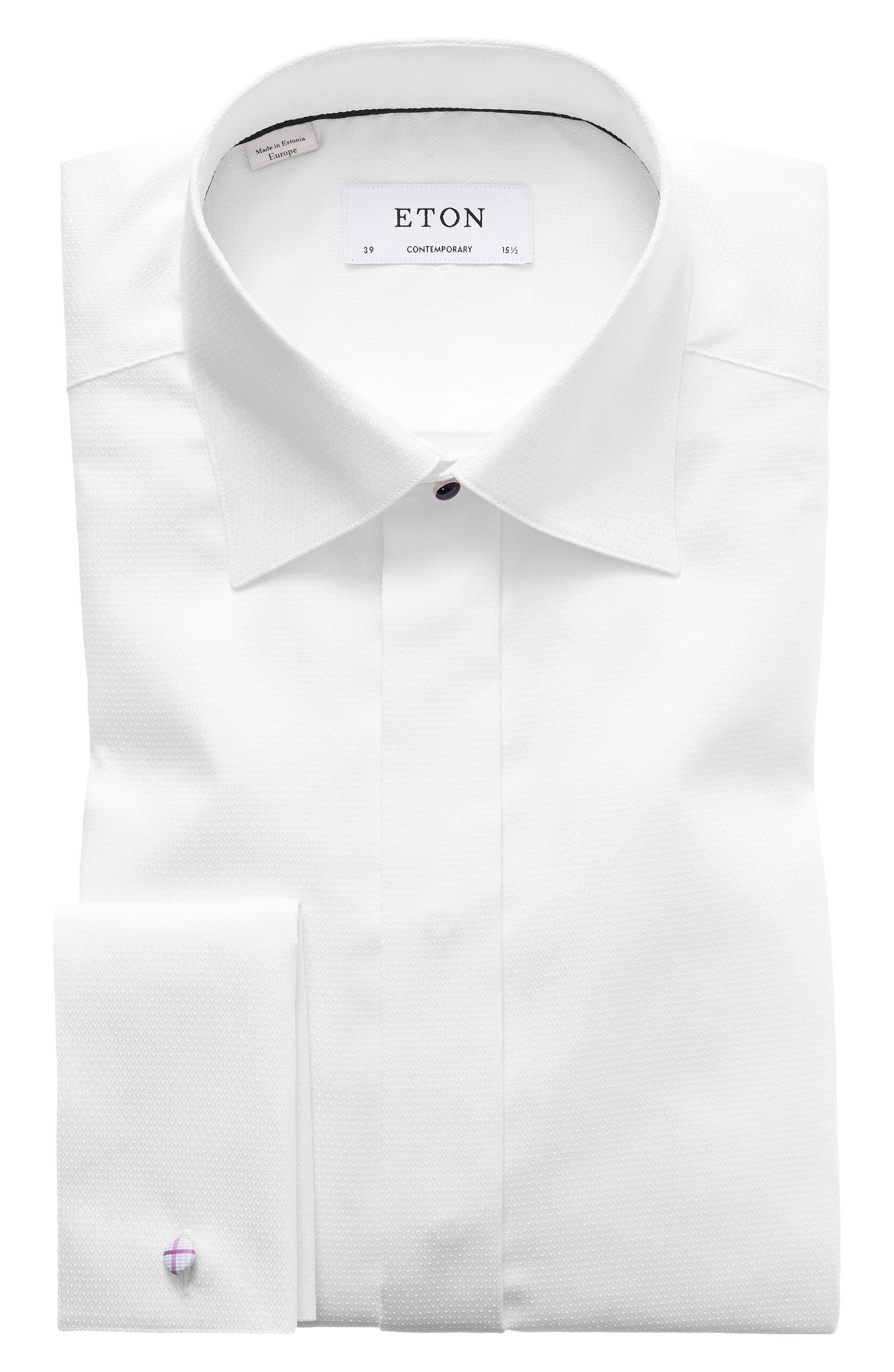 ETON, Contemporary Fit Diamond Weave Tuxedo Shirt, Alternate thumbnail 2, color, WHITE