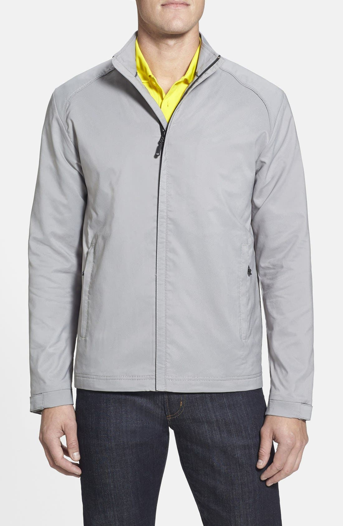 CUTTER & BUCK, Blakely WeatherTec<sup>®</sup> Wind & Water Resistant Full Zip Jacket, Main thumbnail 1, color, OXIDE GREY