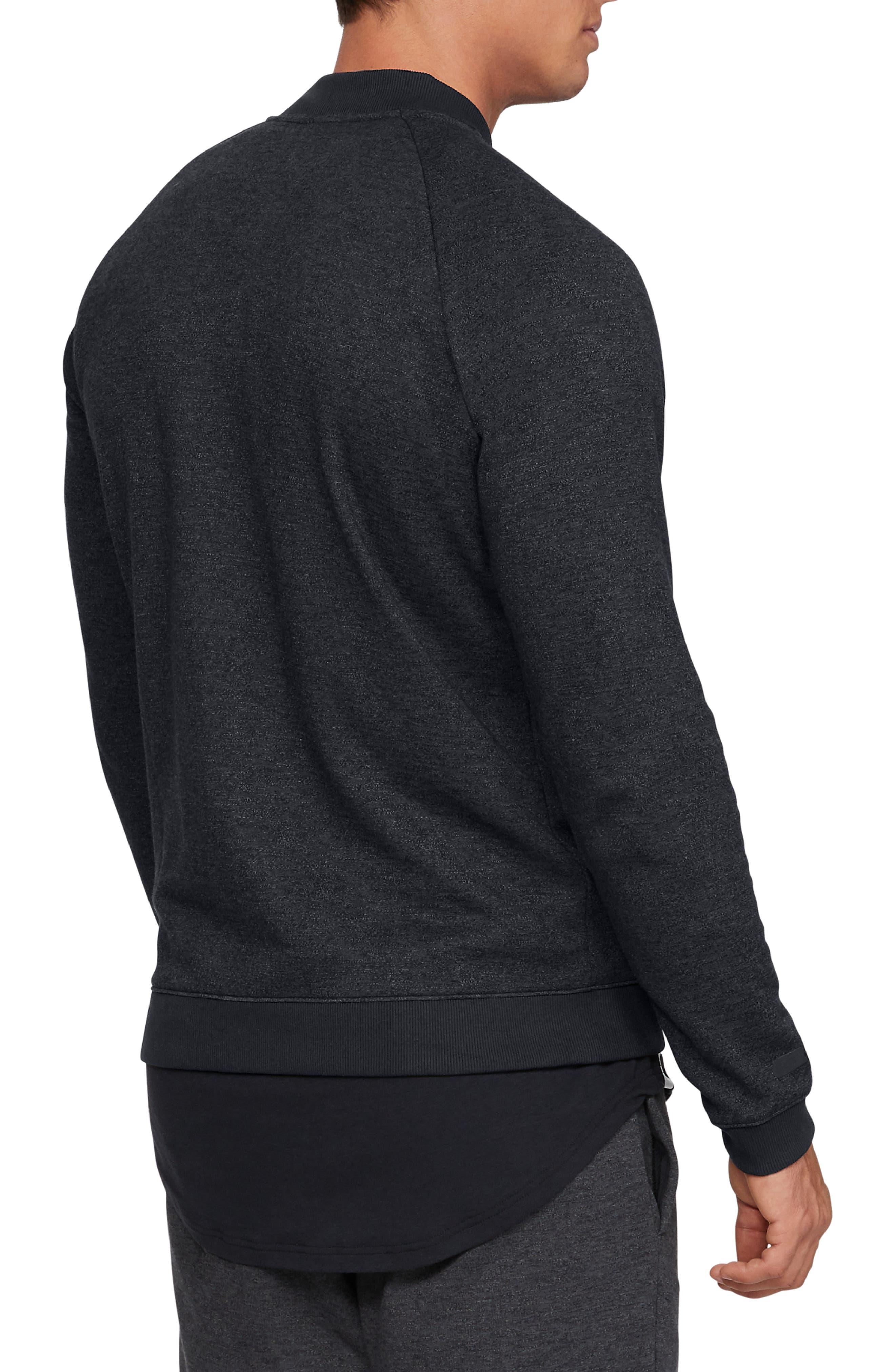 UNDER ARMOUR, Unstoppable Double Knit Bomber Jacket, Alternate thumbnail 2, color, BLACK/ BLACK/ BLACK