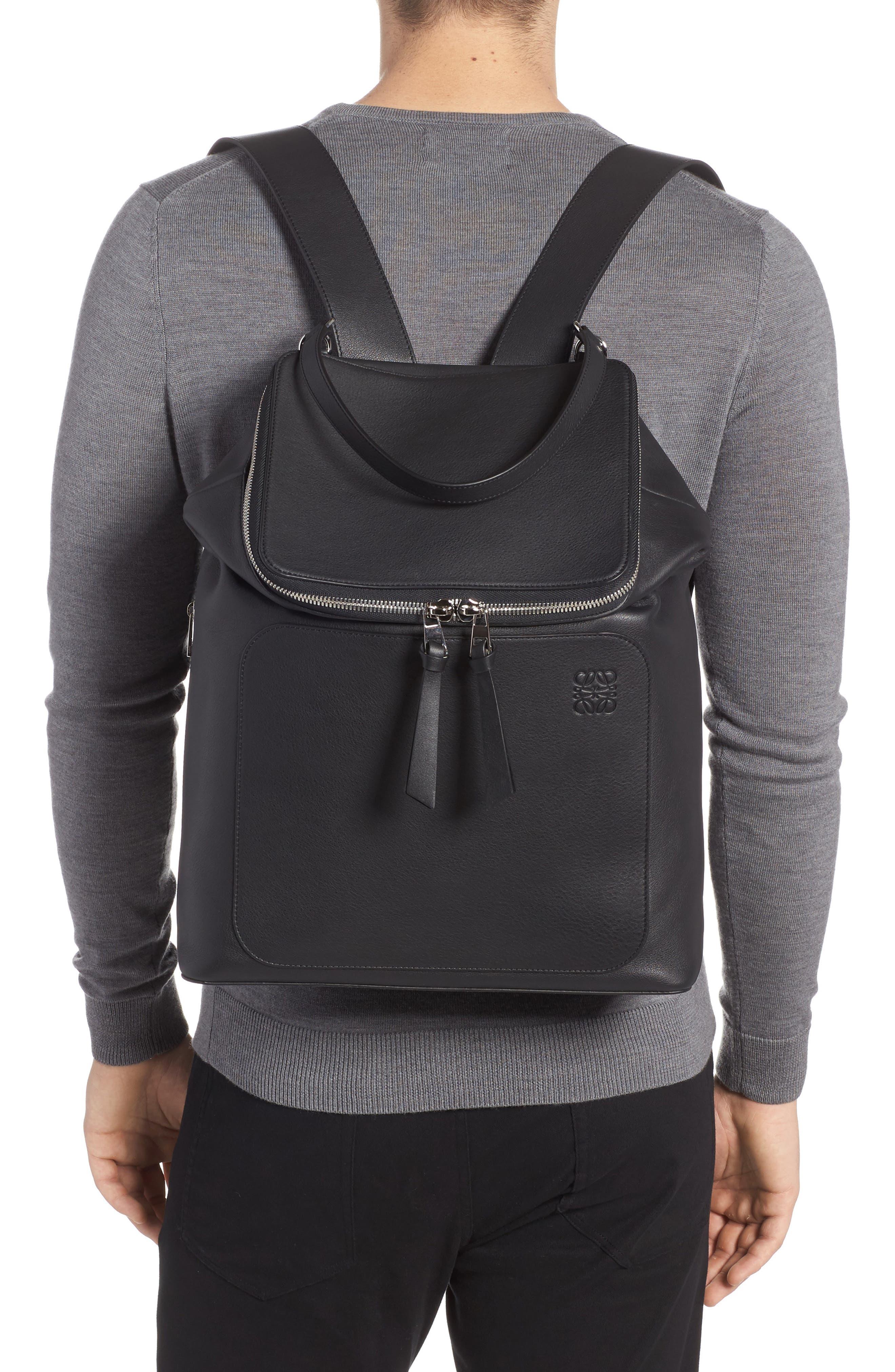 LOEWE, Goya Leather Backpack, Alternate thumbnail 2, color, BLACK