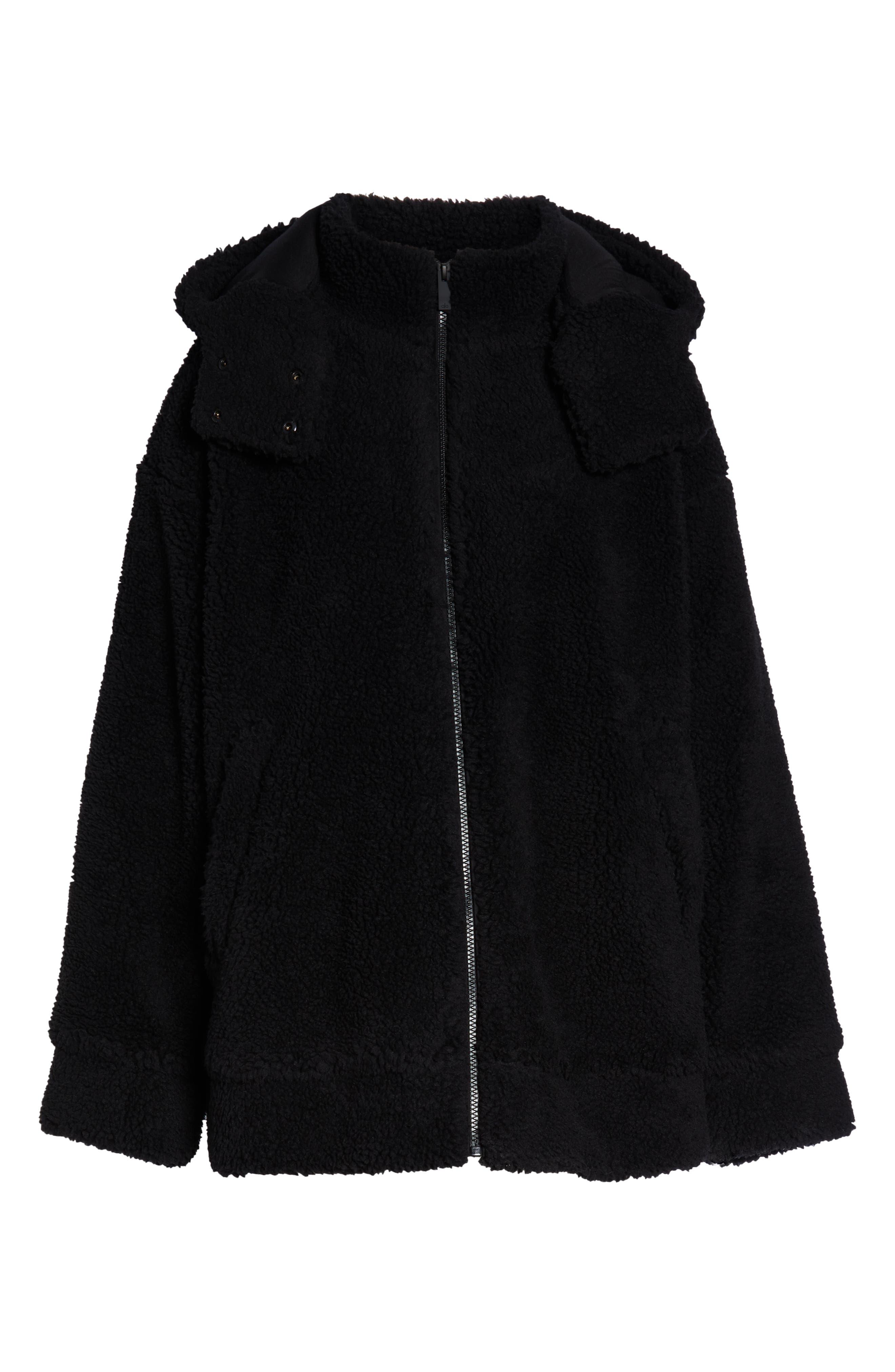 ALO, Norte Faux Fur Coat, Alternate thumbnail 7, color, BLACK