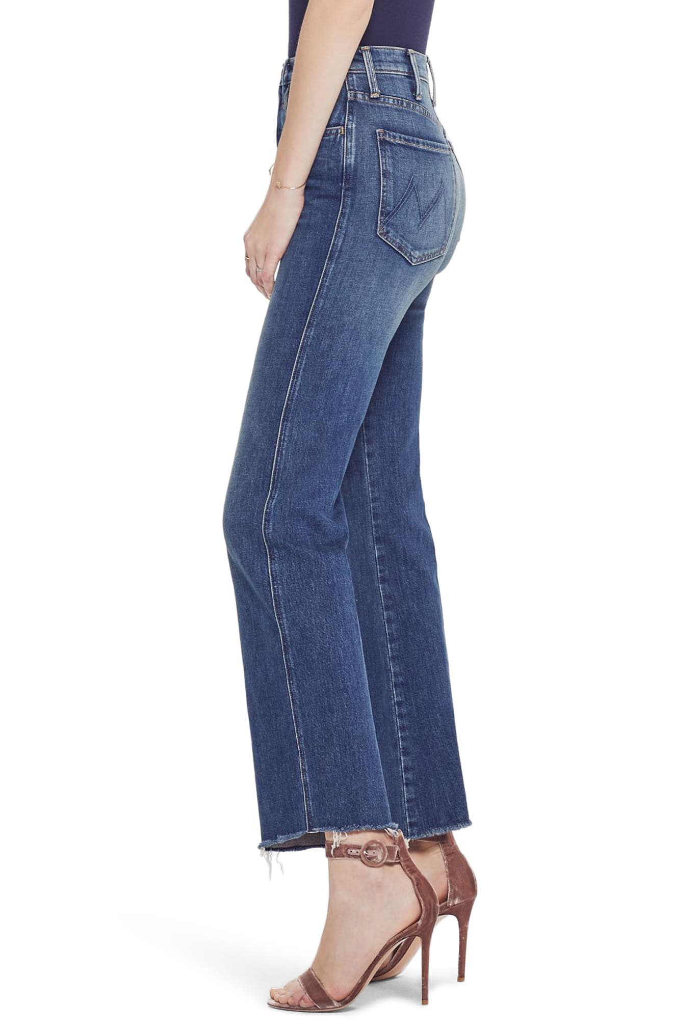 MOTHER, The Tripper Super High Waist Frayed Bootcut Jeans, Alternate thumbnail 4, color, JUST ONE SIP
