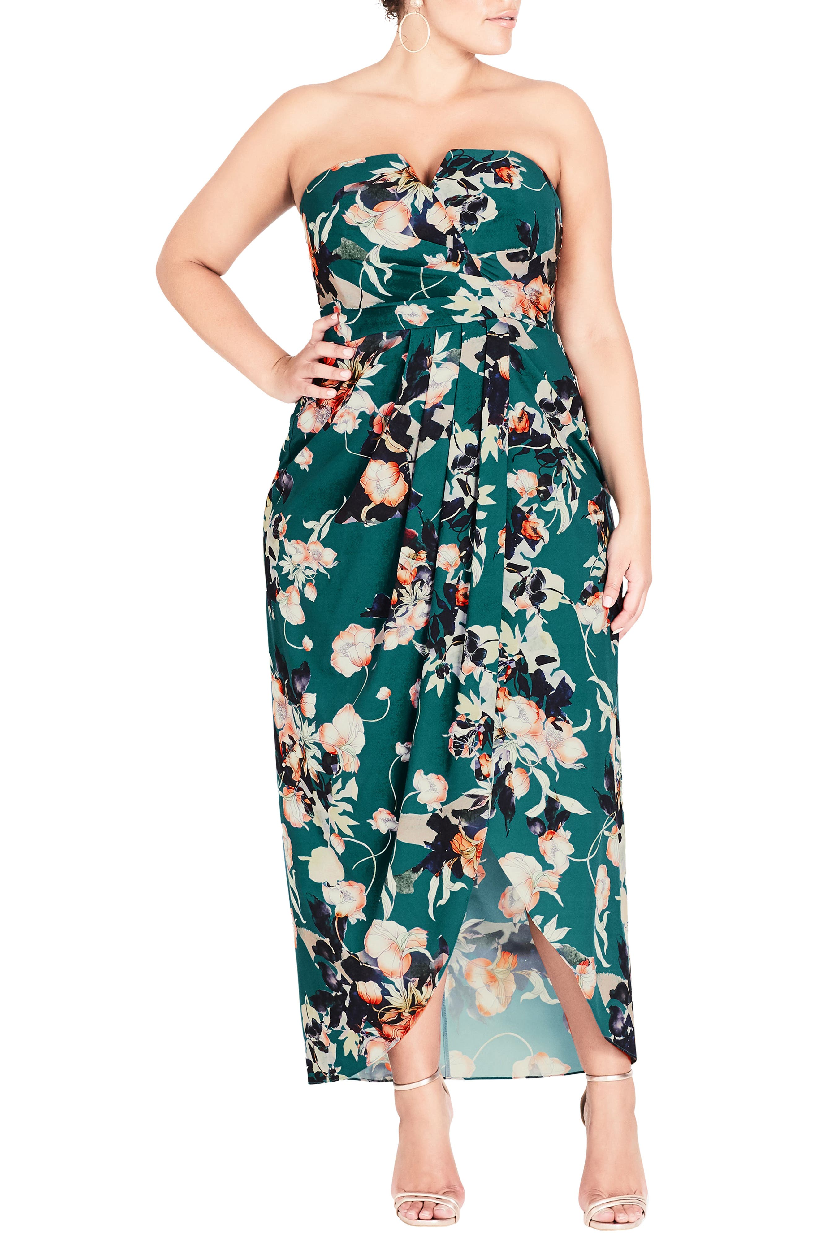 CITY CHIC, Emerald Bloom Strapless Maxi Dress, Main thumbnail 1, color, 302