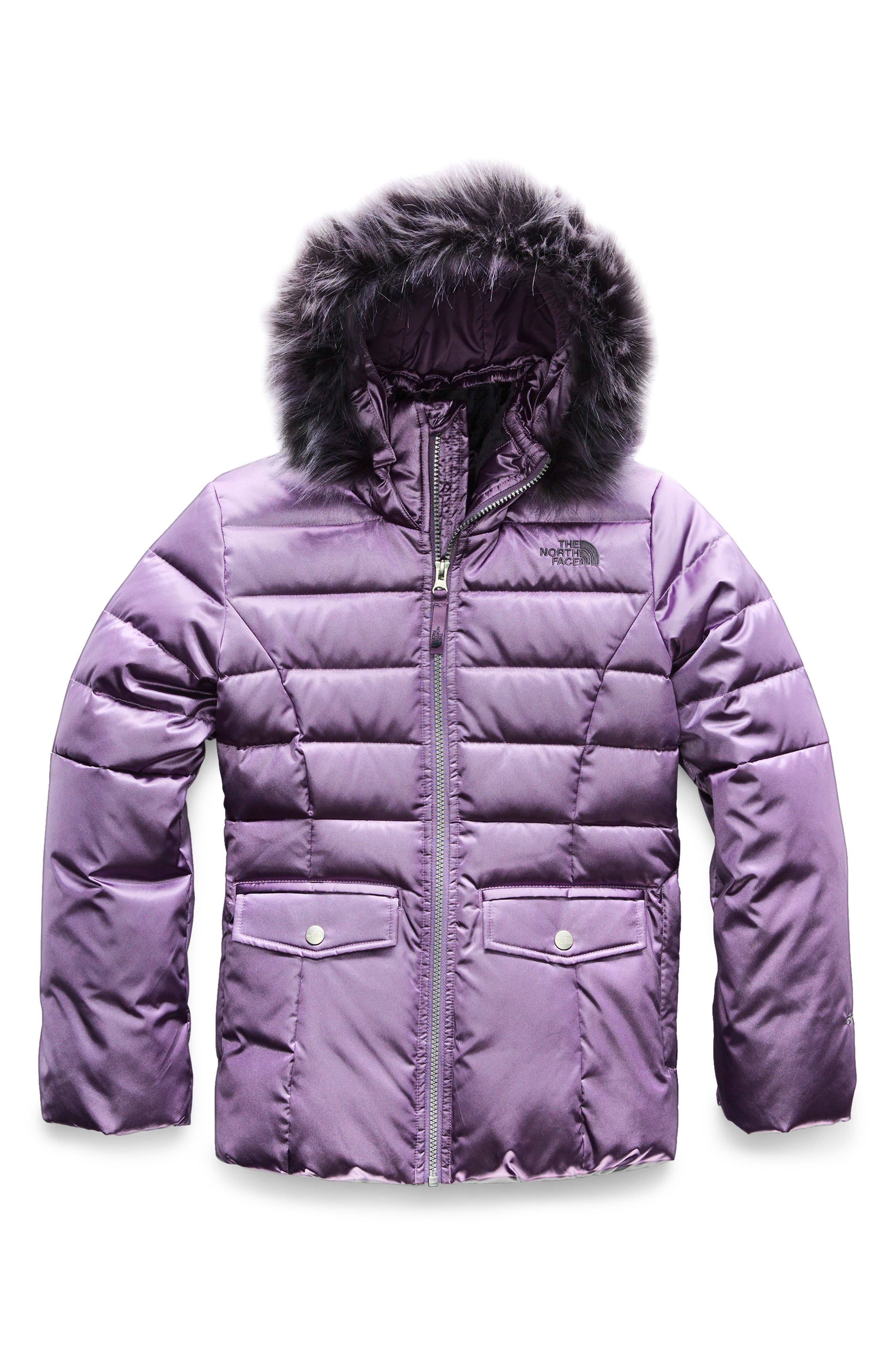 THE NORTH FACE, Gotham 2.0 Water Resistant 550-Fill-Power Down Jacket with Faux Fur Trim, Main thumbnail 1, color, PURPLE SAGE