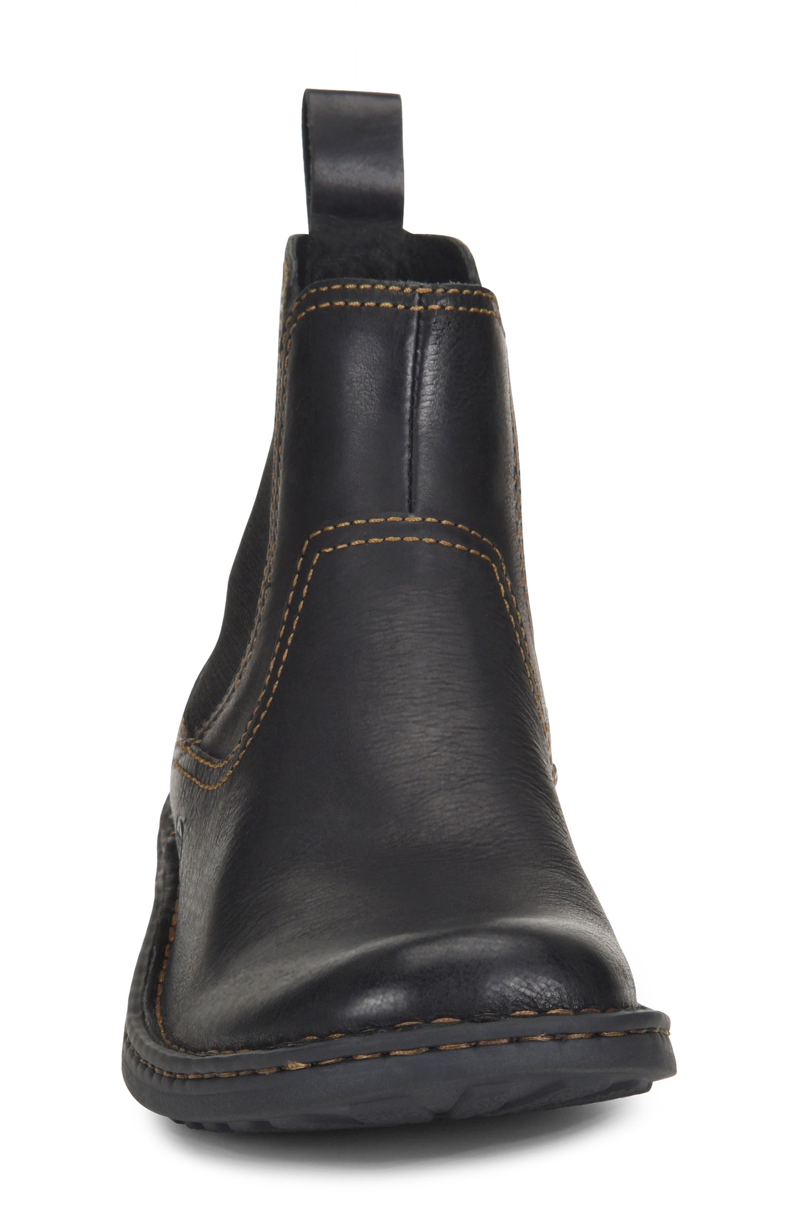 BØRN, 'Hemlock' Boot, Alternate thumbnail 4, color, BLACK LEATHER