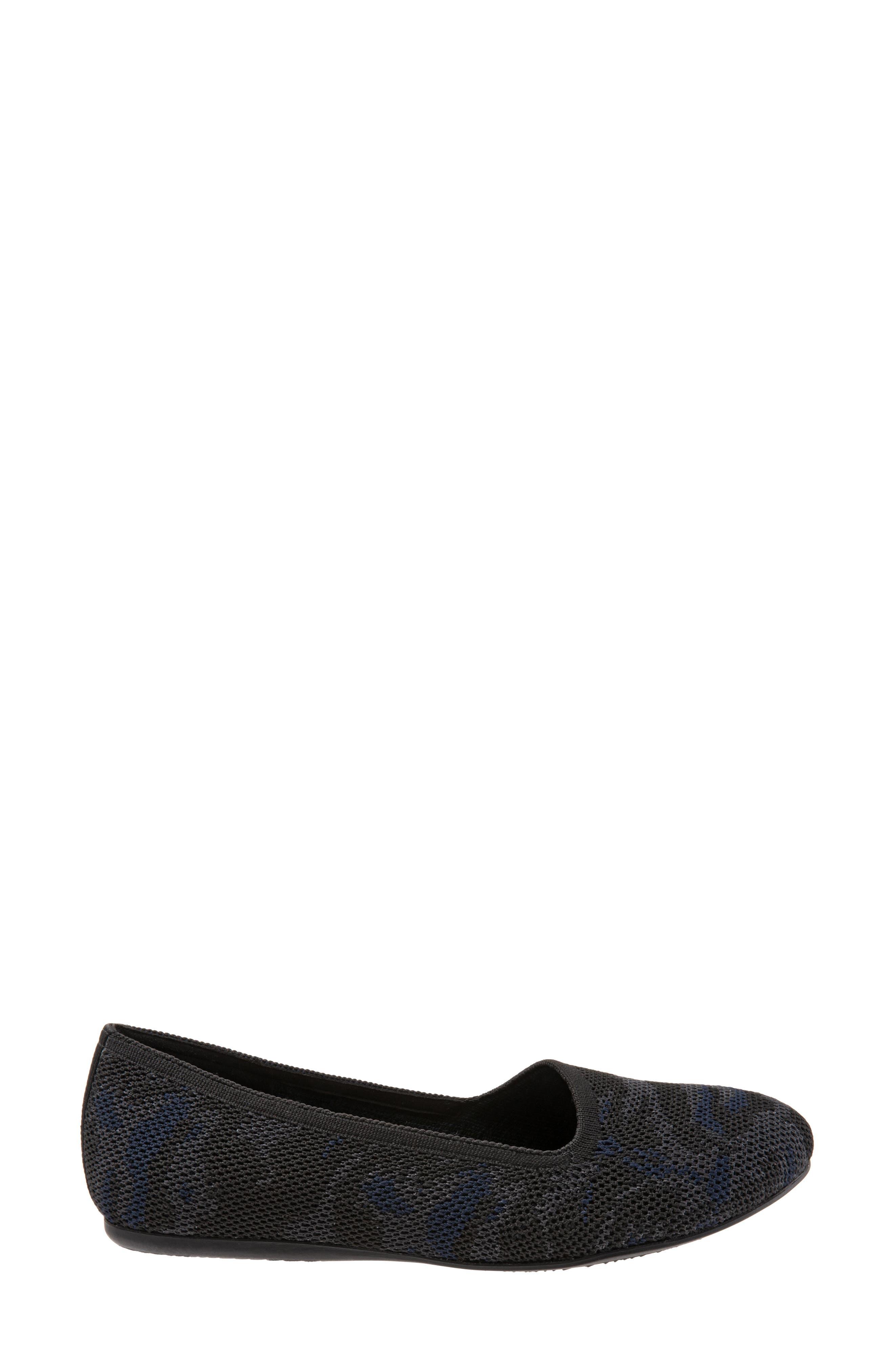 SOFTWALK<SUP>®</SUP>, Sicily Knit Flat, Alternate thumbnail 3, color, BLACK/ GREY FABRIC