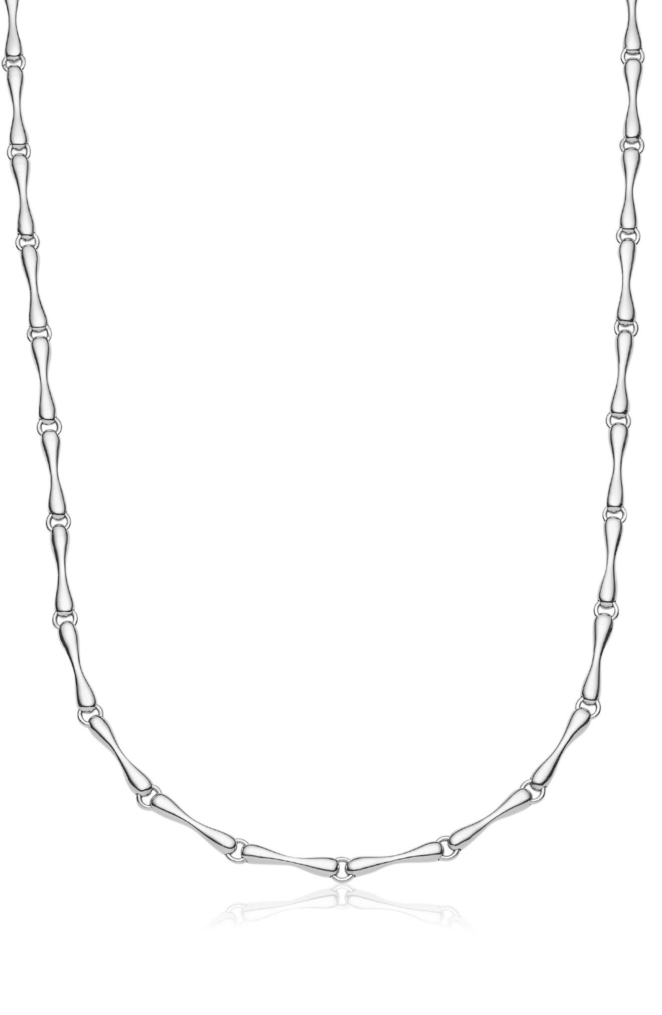 MONICA VINADER, Nura Reef Chain Necklace, Alternate thumbnail 2, color, SILVER/ DIAMOND