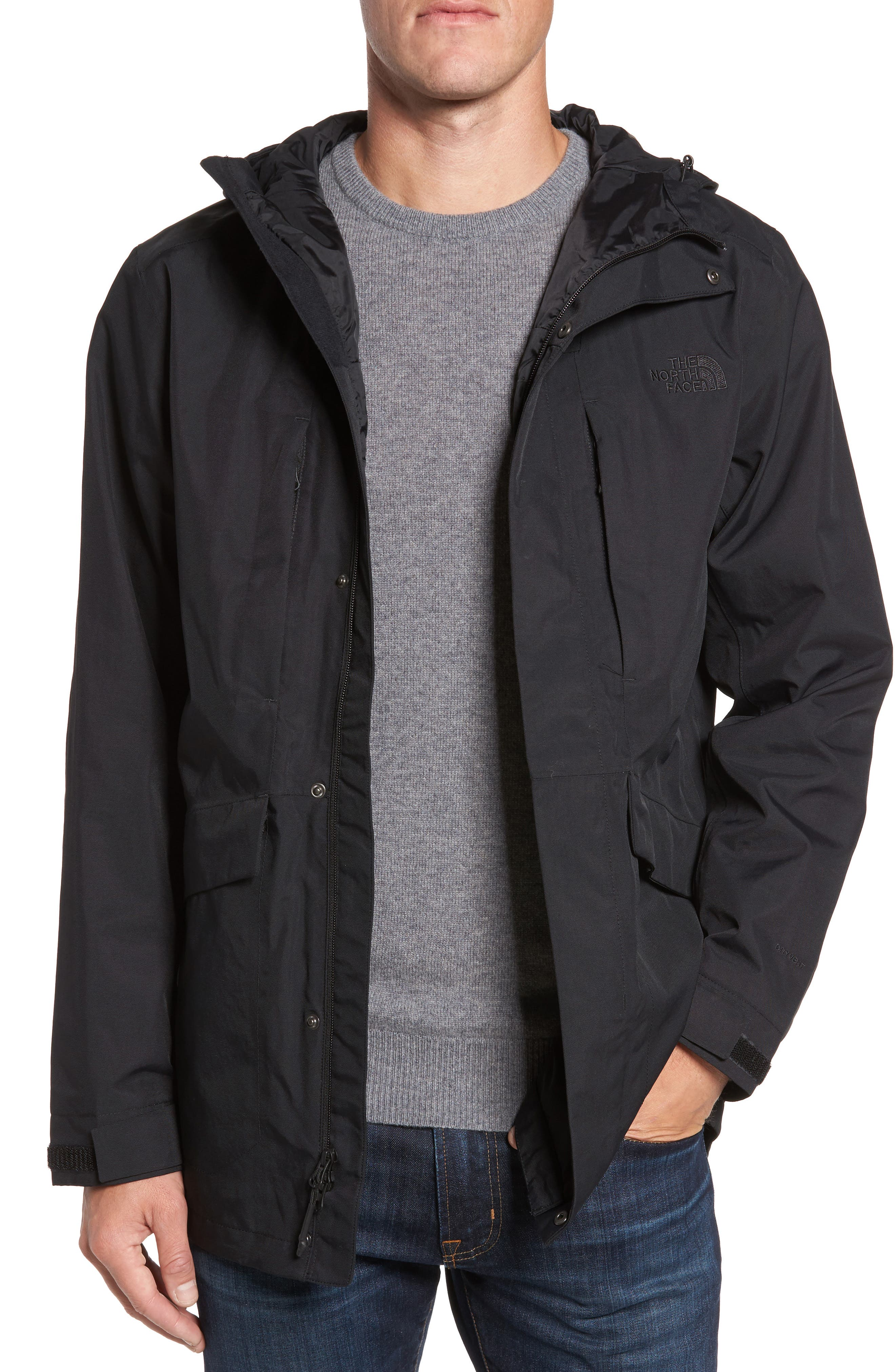 THE NORTH FACE, El Misti Trench II Hooded Jacket, Main thumbnail 1, color, 001