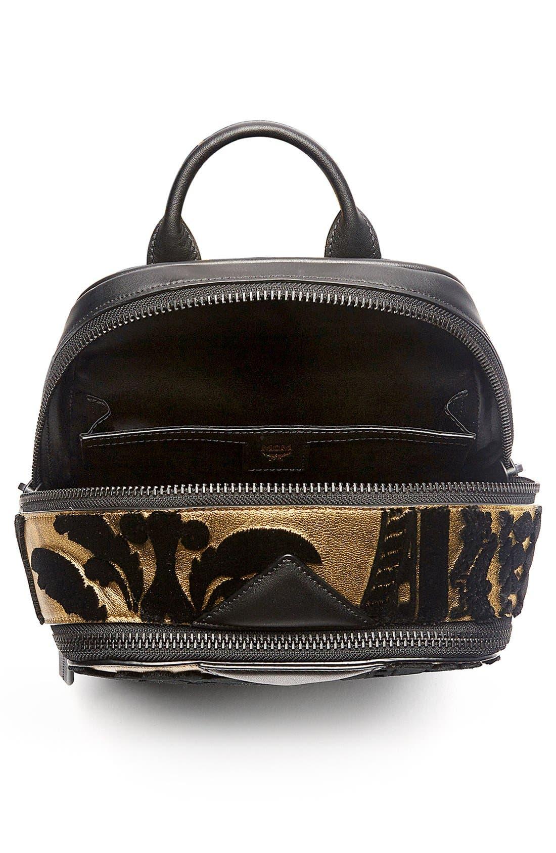 MCM, 'Duke Tapisserie' Goat Leather Backpack, Alternate thumbnail 3, color, 710