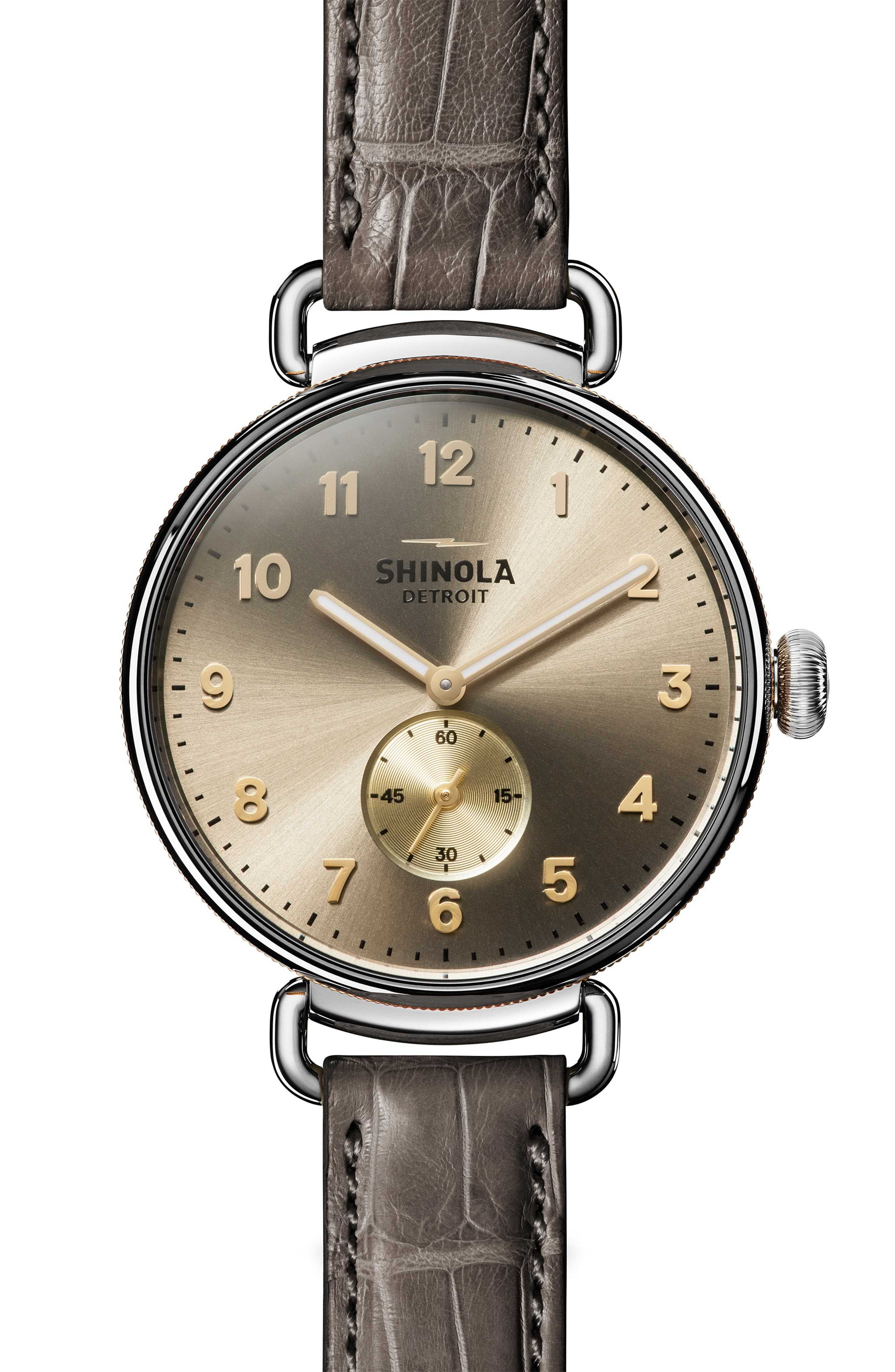 SHINOLA The Canfield Alligator Strap Watch, 38mm, Main, color, GREY/ TAUPE SUNRAY/ SILVER