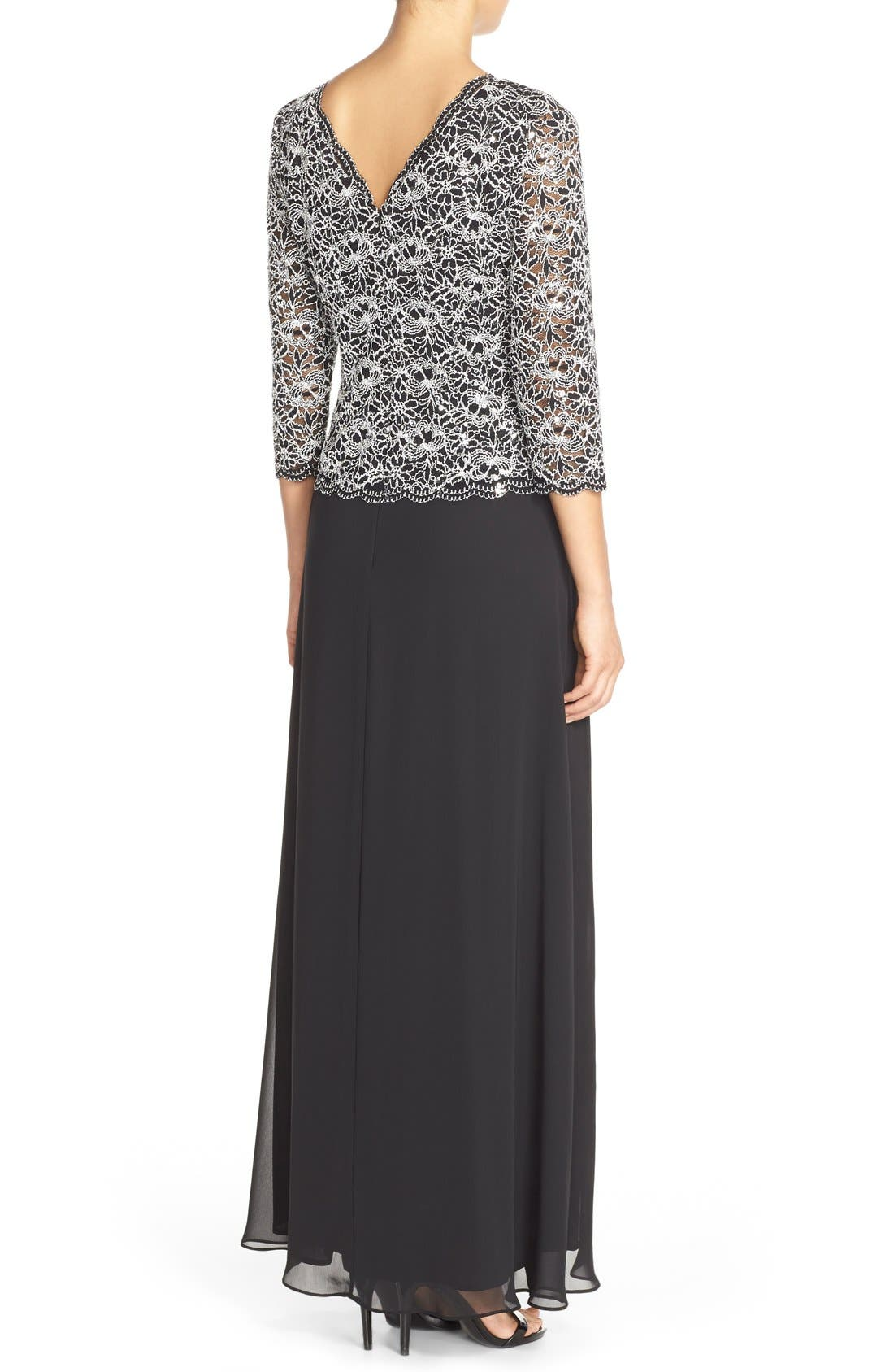 ALEX EVENINGS, Lace & Chiffon Mock Two-Piece Gown, Alternate thumbnail 2, color, BLACK/ WHITE