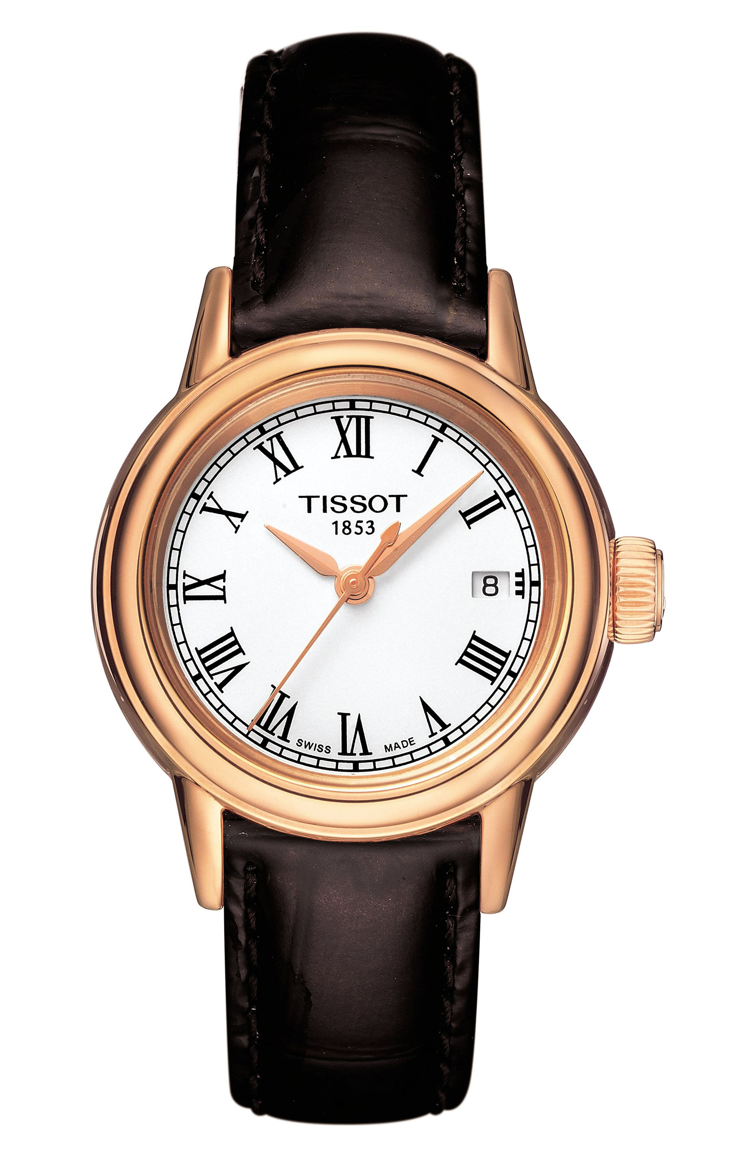 TISSOT Carson Leather Strap Watch, 28mm, Main, color, 201