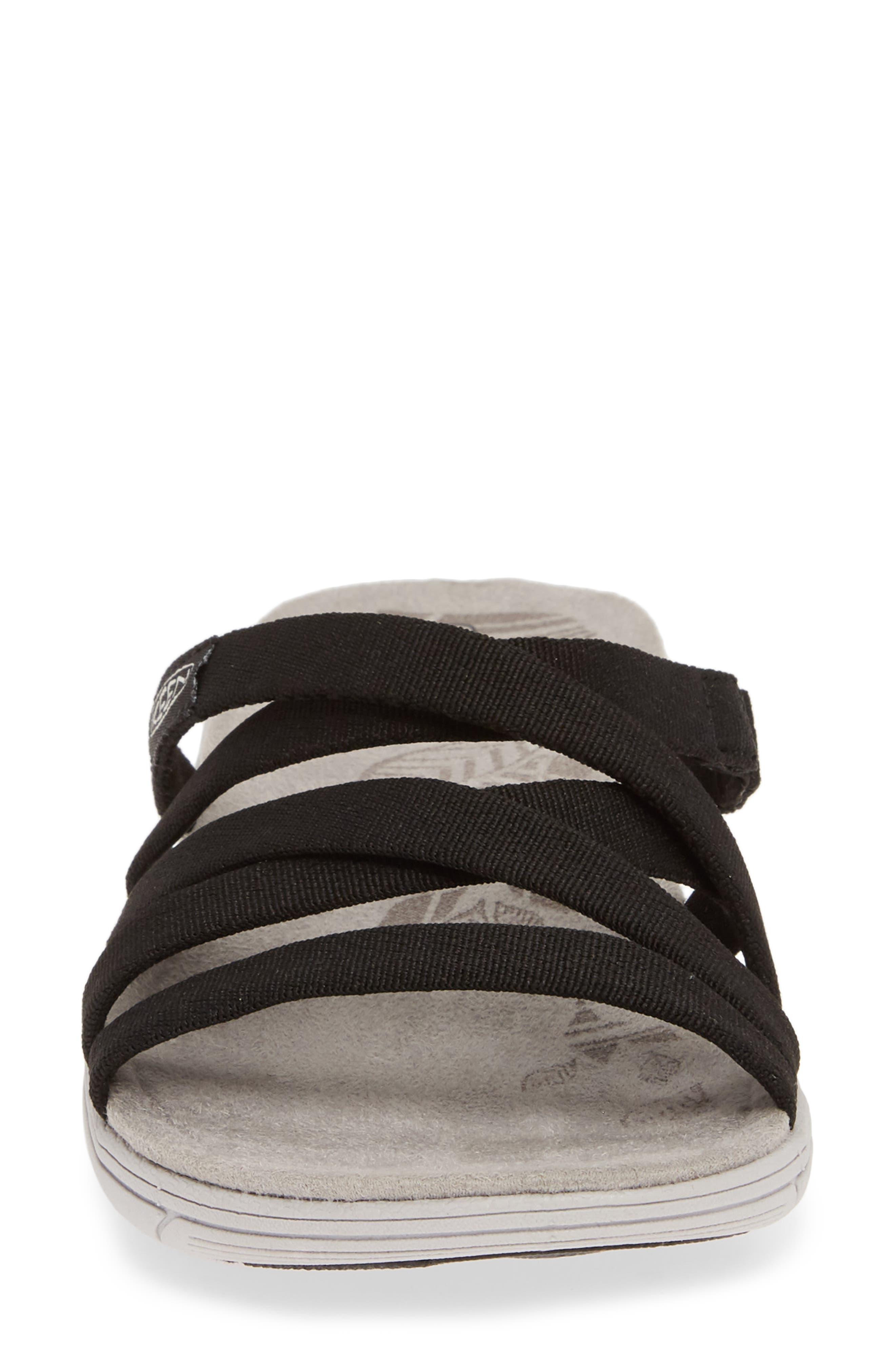 KEEN, Damaya Slide Sandal, Alternate thumbnail 4, color, BLACK/ VAPOR BLUE FABRIC