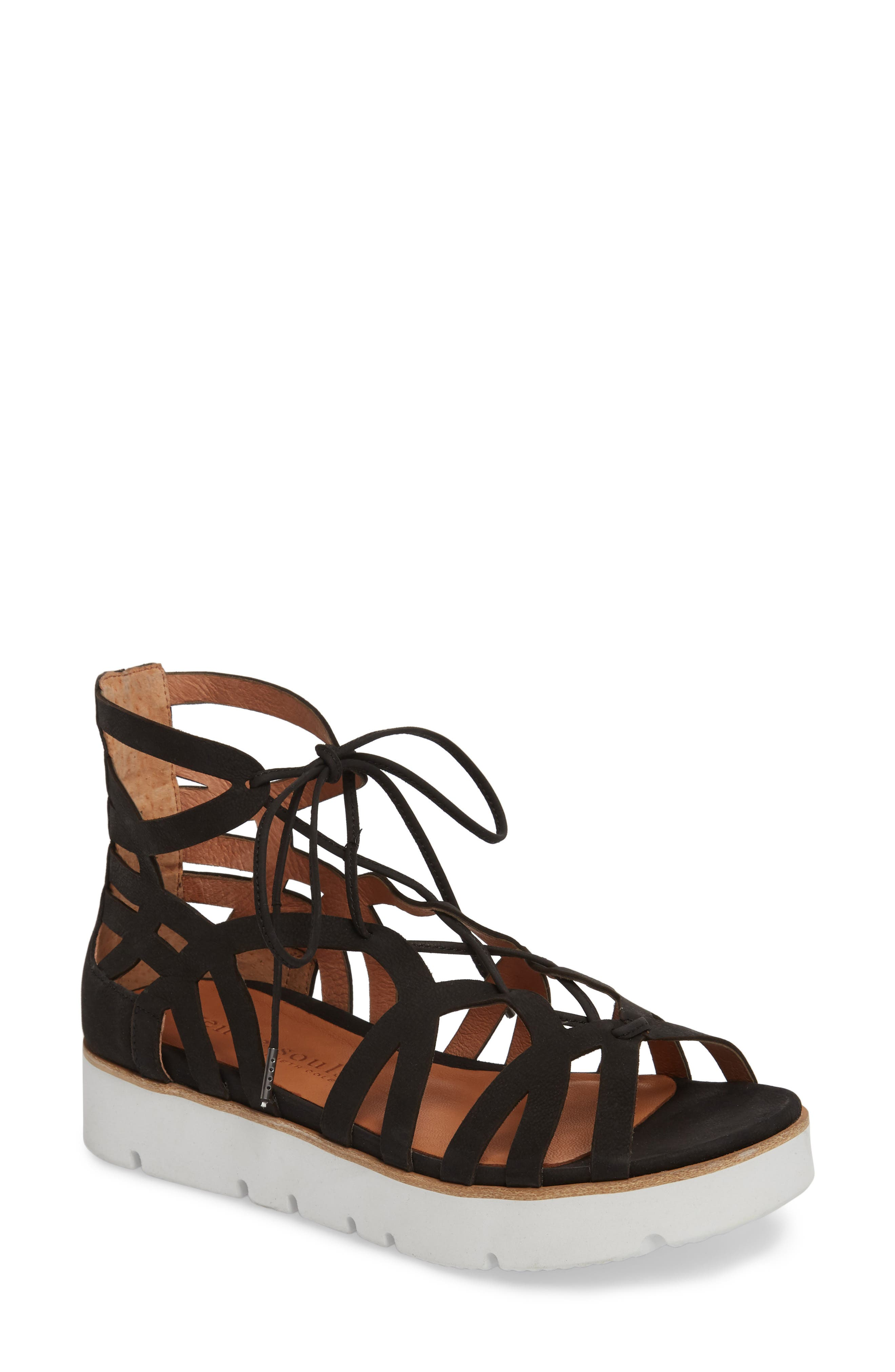 GENTLE SOULS BY KENNETH COLE, Larina Lace-Up Sandal, Main thumbnail 1, color, BLACK NUBUCK
