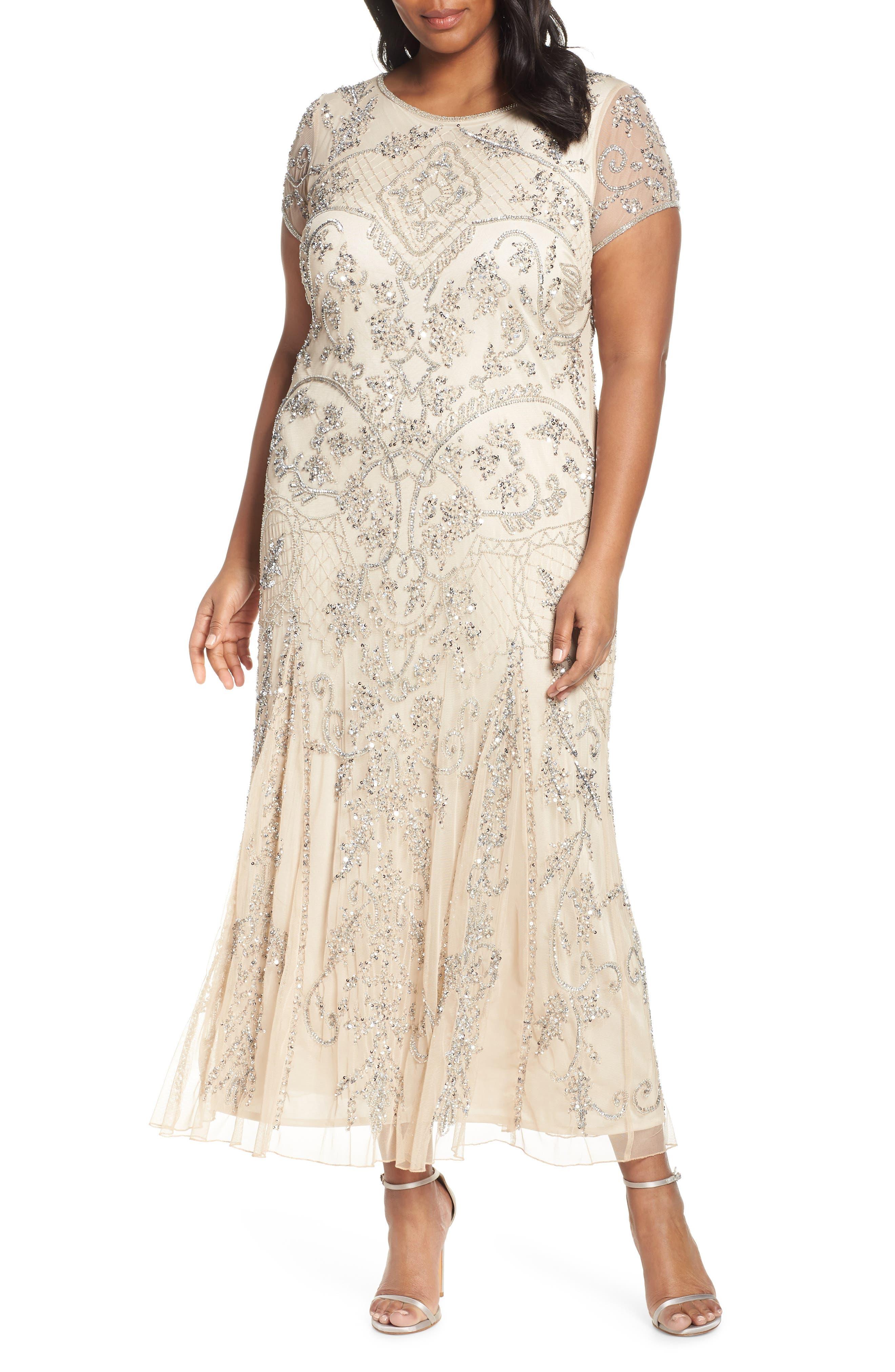 Plus Size Pisarro Nights Beaded Short Sleeve Column Gown, Metallic