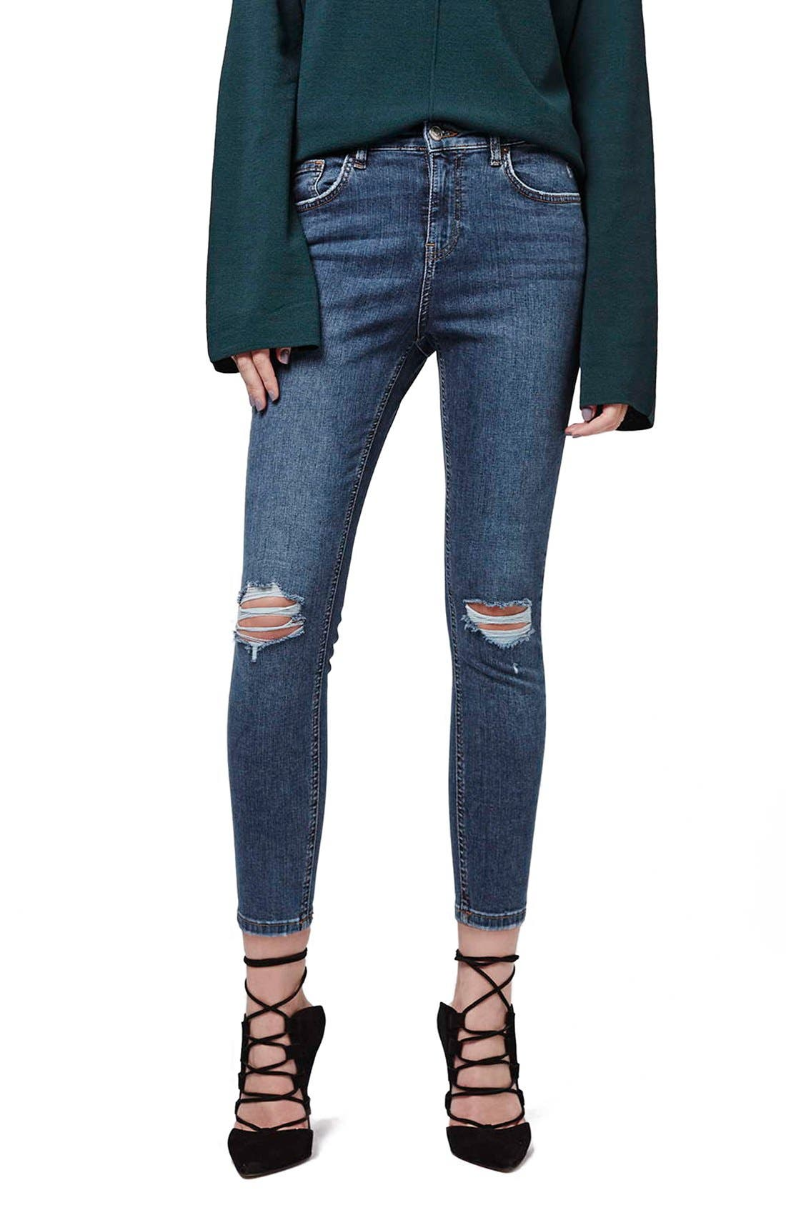 TOPSHOP, Moto 'Jamie' Ripped Skinny Ankle Jeans, Main thumbnail 1, color, MID DENIM