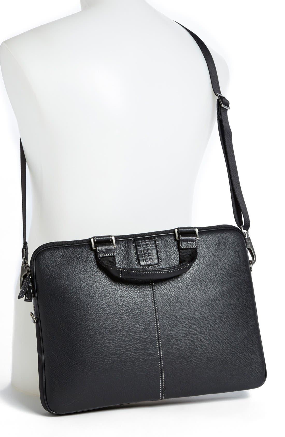 BOCONI, 'Tyler' Leather Laptop Briefcase, Alternate thumbnail 2, color, BLACK/ KHAKI