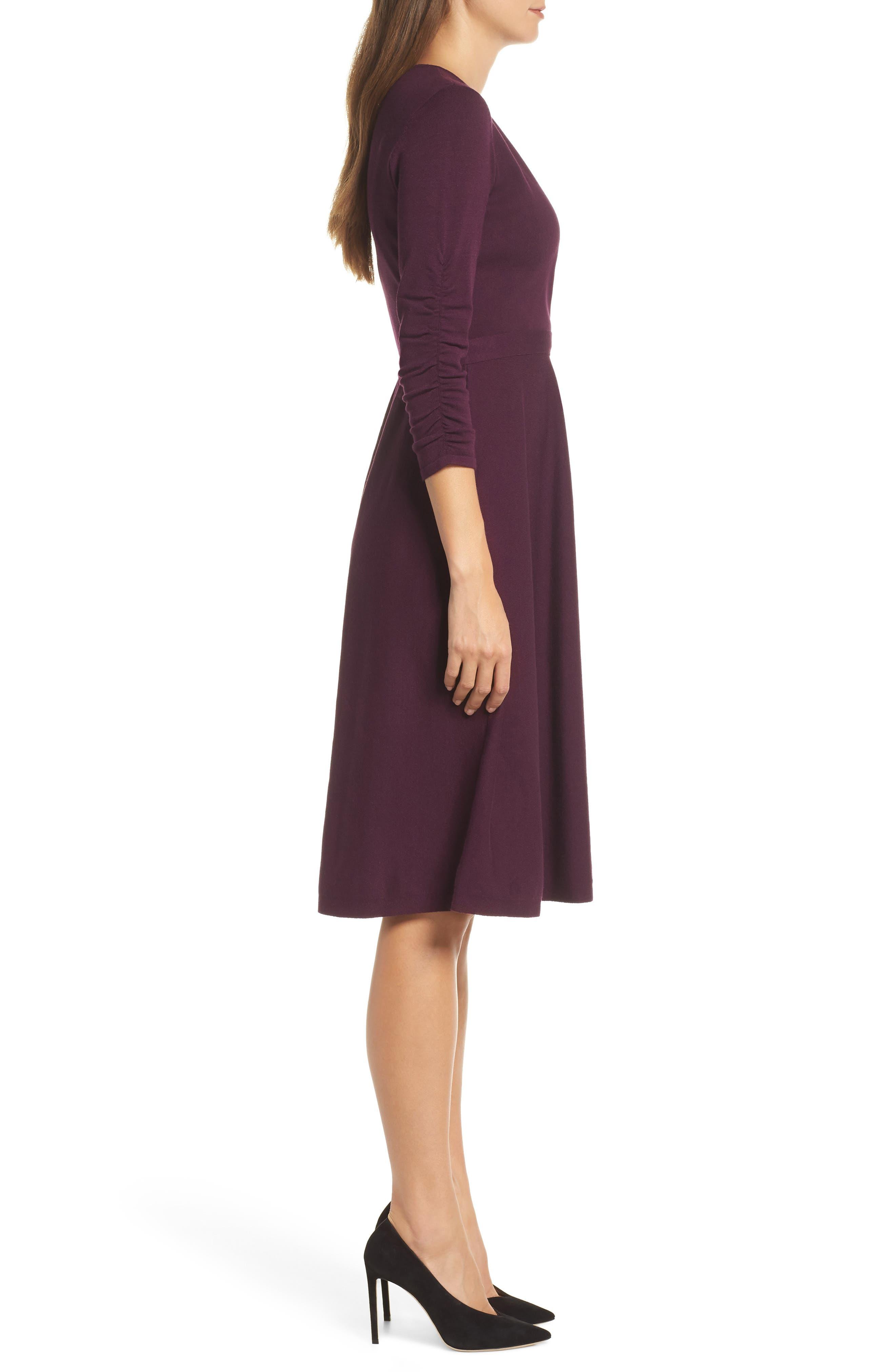 ELIZA J, Faux Wrap Sweater Dress, Alternate thumbnail 4, color, 930