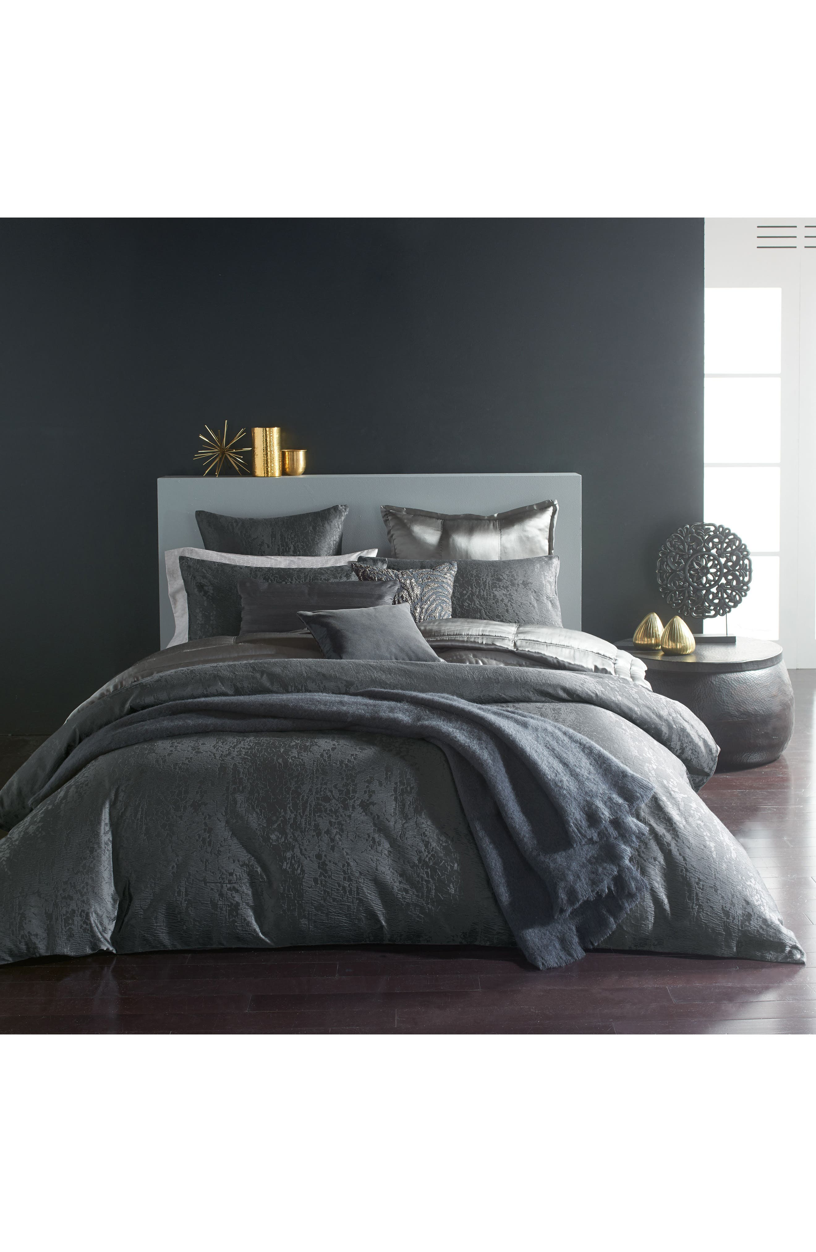 DONNA KARAN NEW YORK, Donna Karan Moonscape Euro Sham, Alternate thumbnail 3, color, CHARCOAL