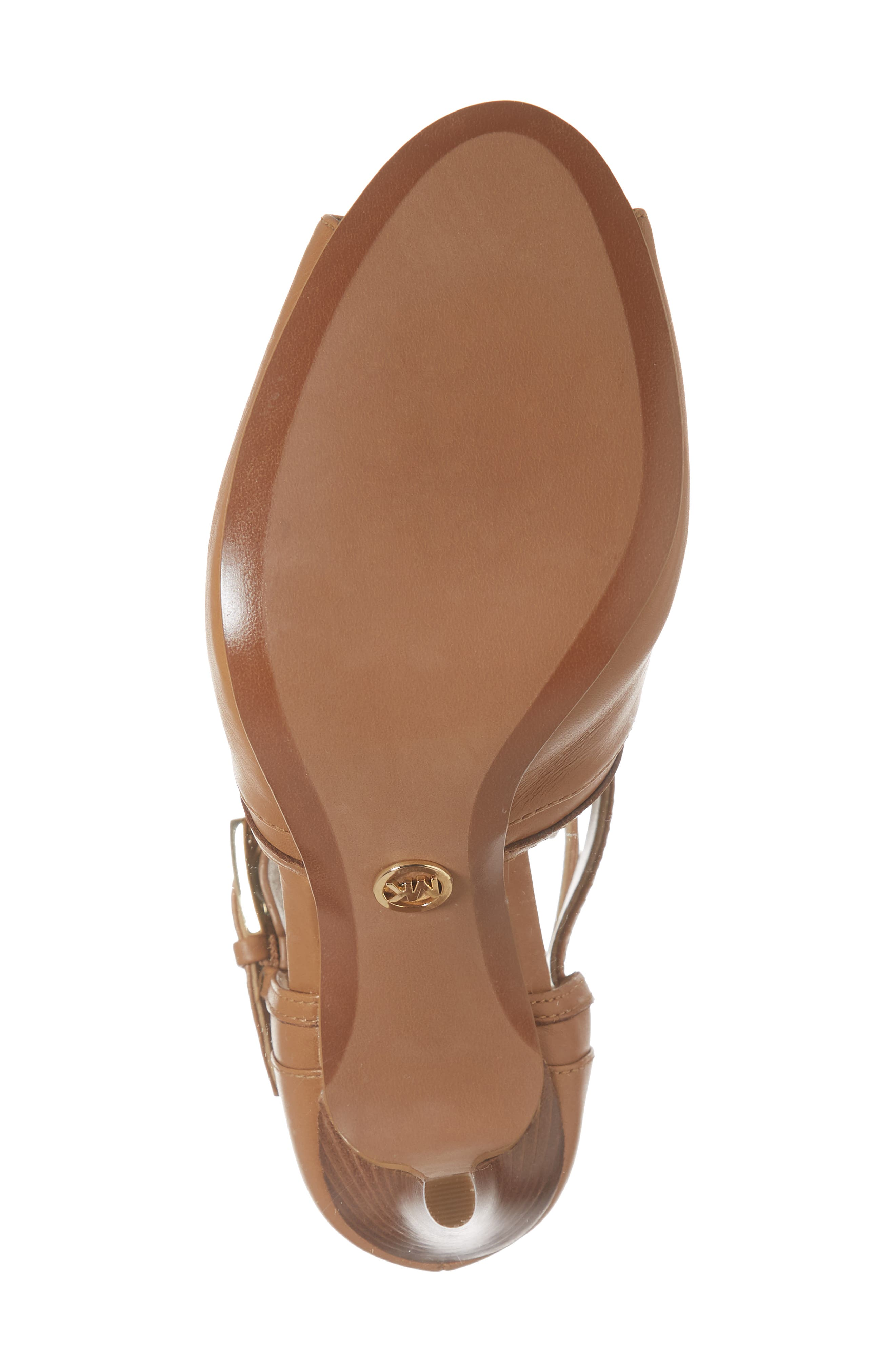 MICHAEL MICHAEL KORS, Blaze Peep Toe Buckle Bootie, Alternate thumbnail 6, color, ACORN LEATHER